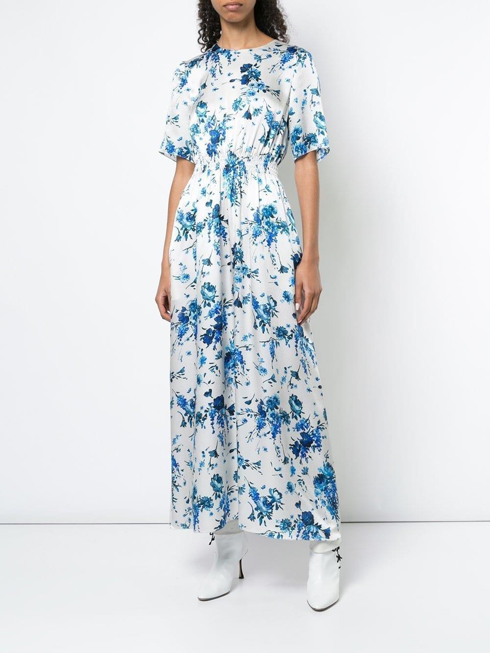 ADAM LIPPES Smocked Waist Hammered Silk Maxi Dress