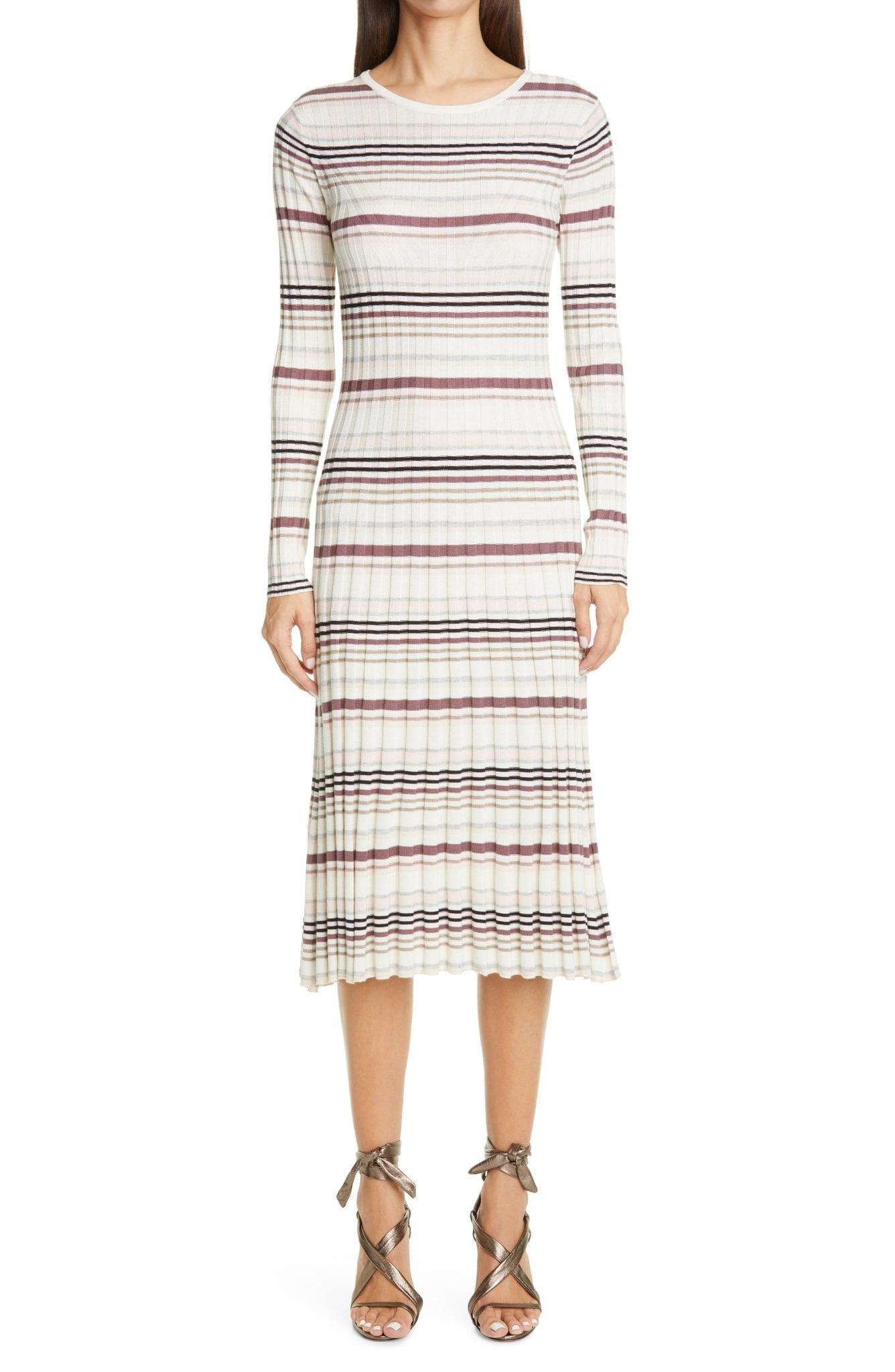 ADAM LIPPES Stripe Long Sleeve Silk & Cashmere Midi Sweater Dress