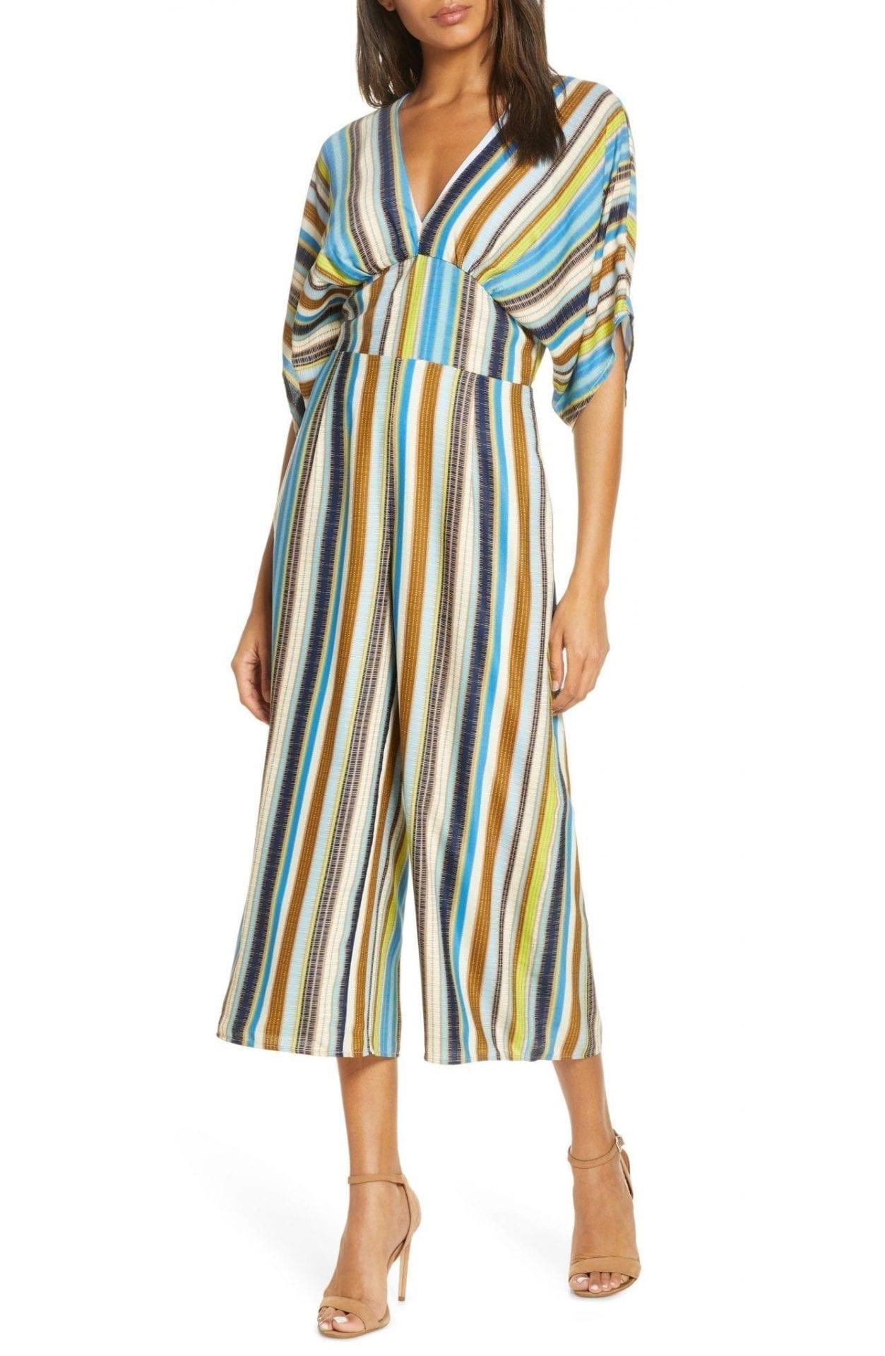 ADELYN RAE Lindsey Stripe Wide Leg Jumpsuit Dress