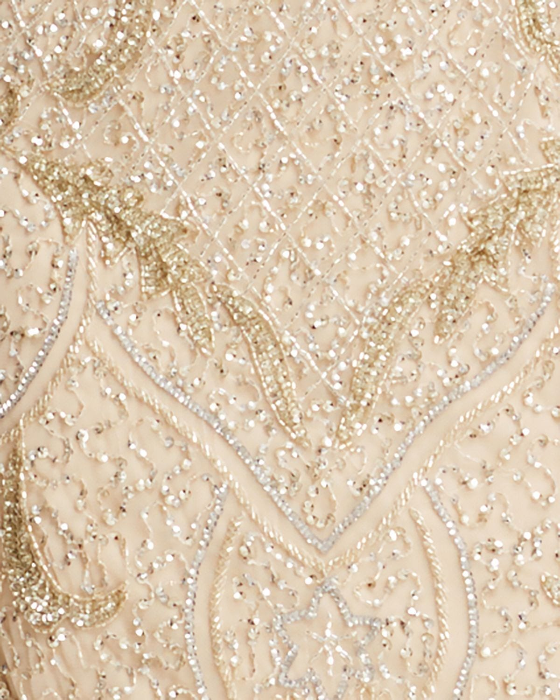 AIDAN MATTOX Cold-Shoulder Beaded Gown