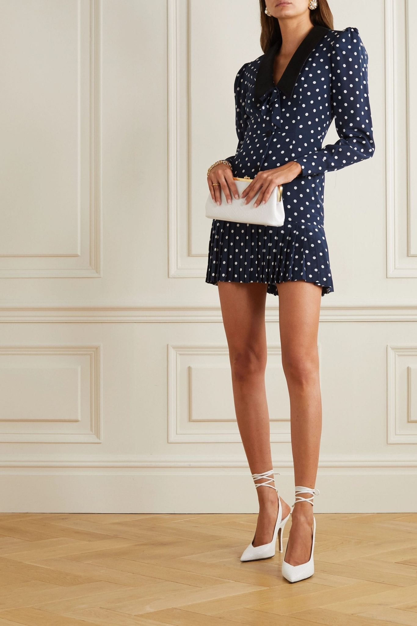 ALESSANDRA RICH Bow-detailed Pleated Polka-dot Silk Mini Dress