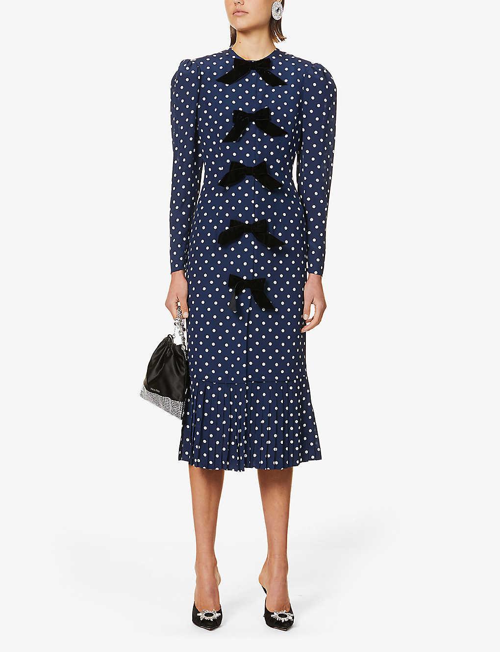 ALESSANDRA RICH Bow-embellished Polka-dot Silk Midi Dress