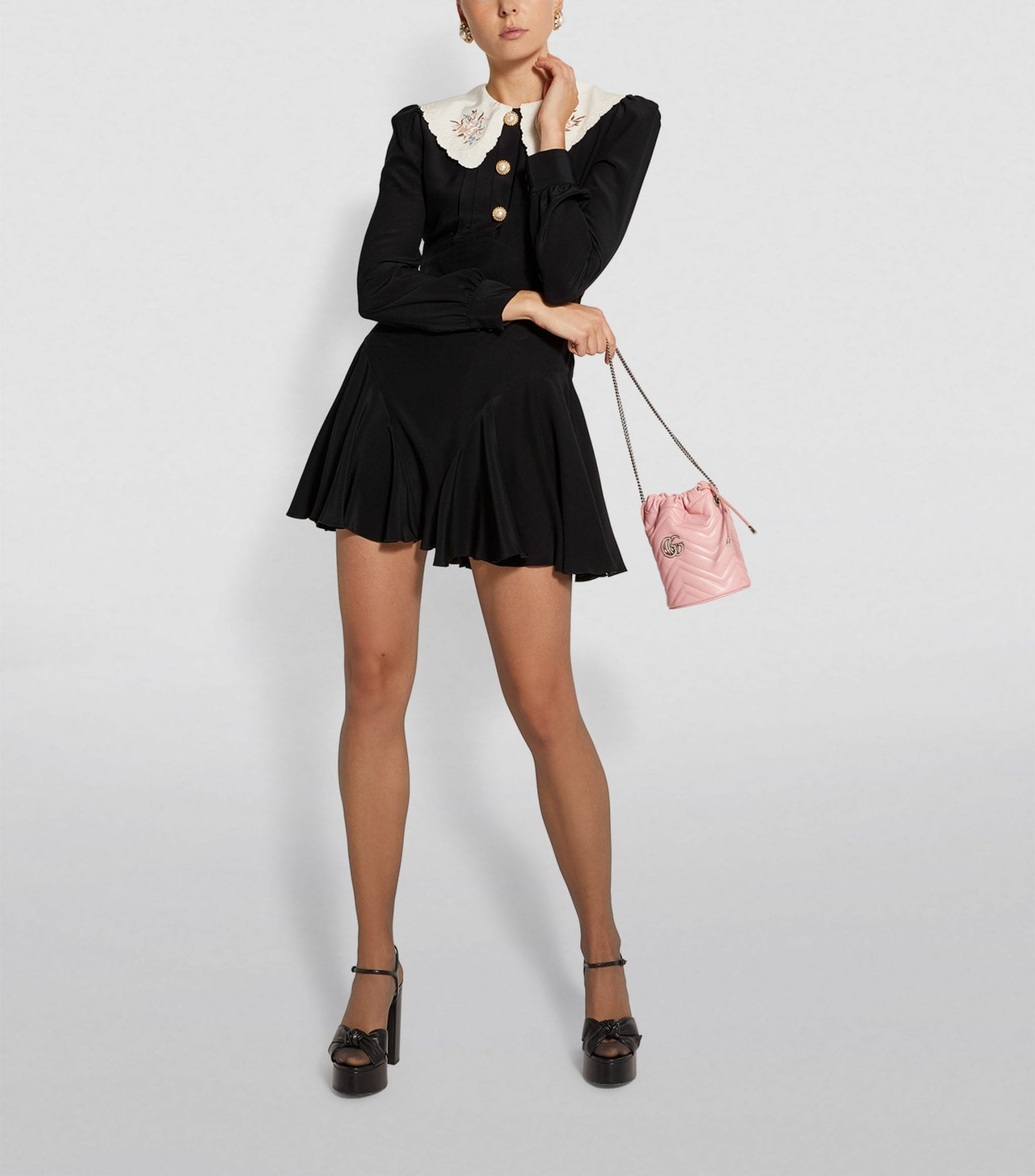 ALESSANDRA RICH Contrast-Collar Mini Dress