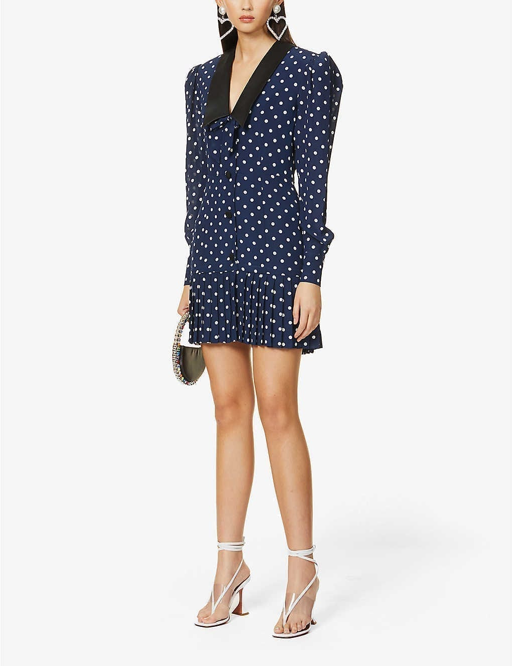 ALESSANDRA RICH Polka Dot-print Silk And Cotton-blend Mini Dress