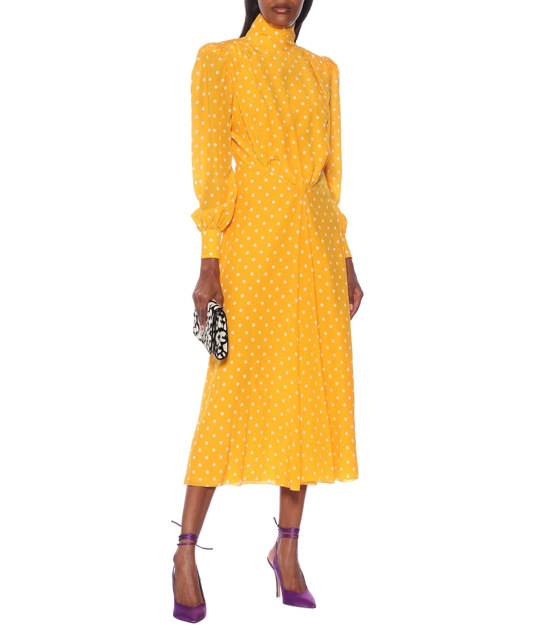 ALESSANDRA RICH Polka-dot Silk Turtleneck Dress