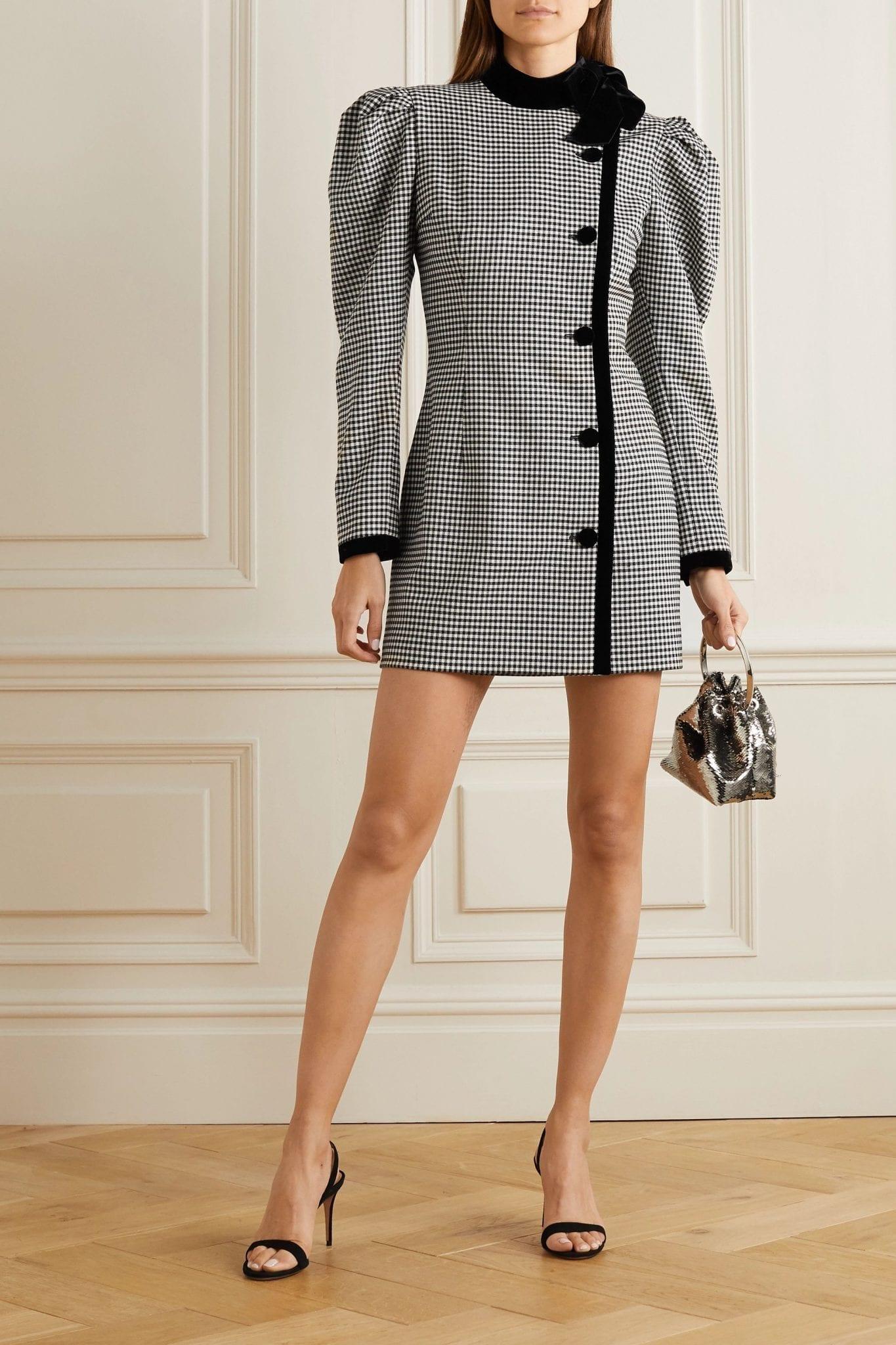 ALESSANDRA RICH Velvet-trimmed Checked Wool-blend Mini Dress