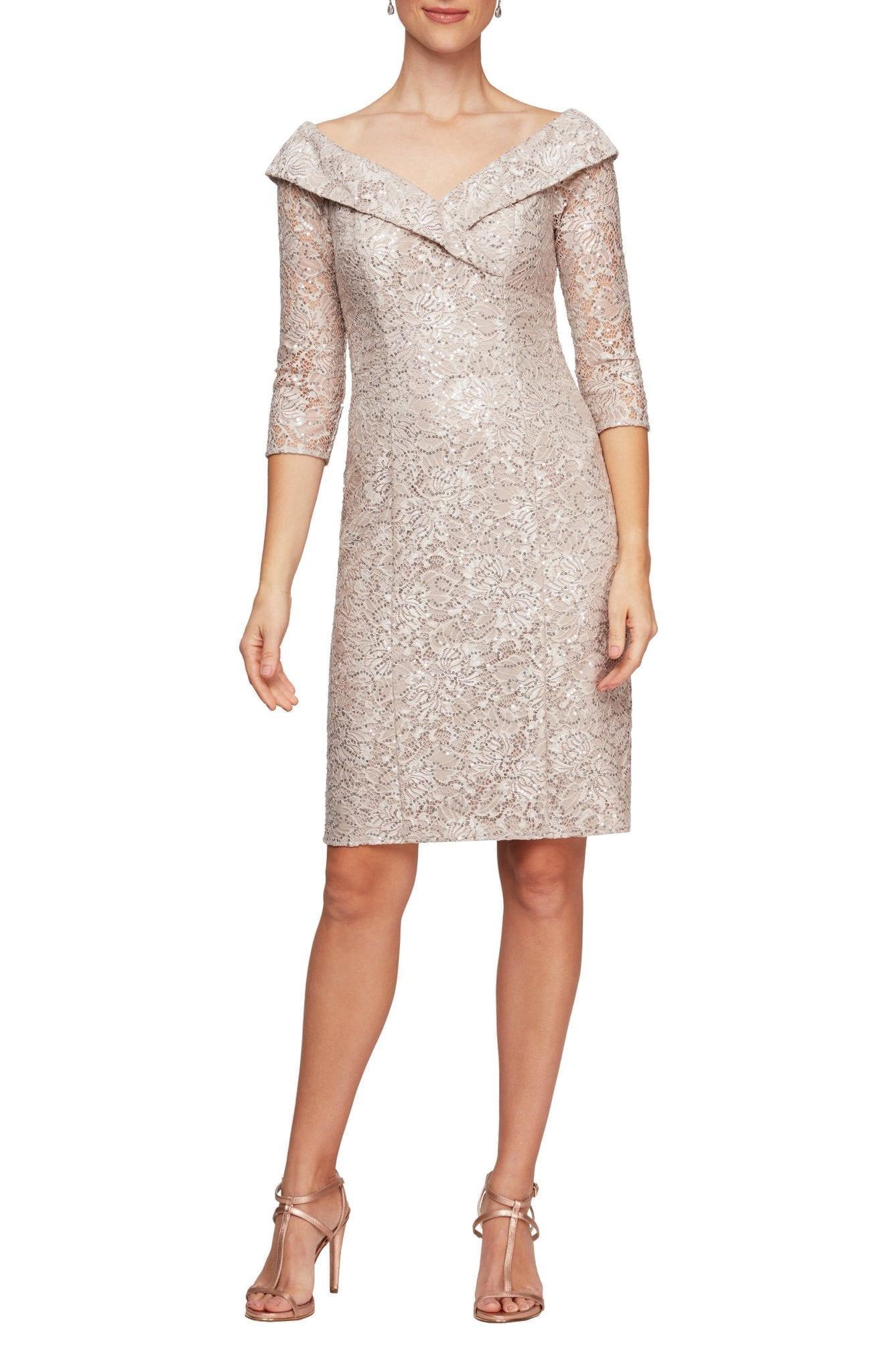 ALEX EVENINGS Off the Shoulder Sequin Lace Sheath Dress