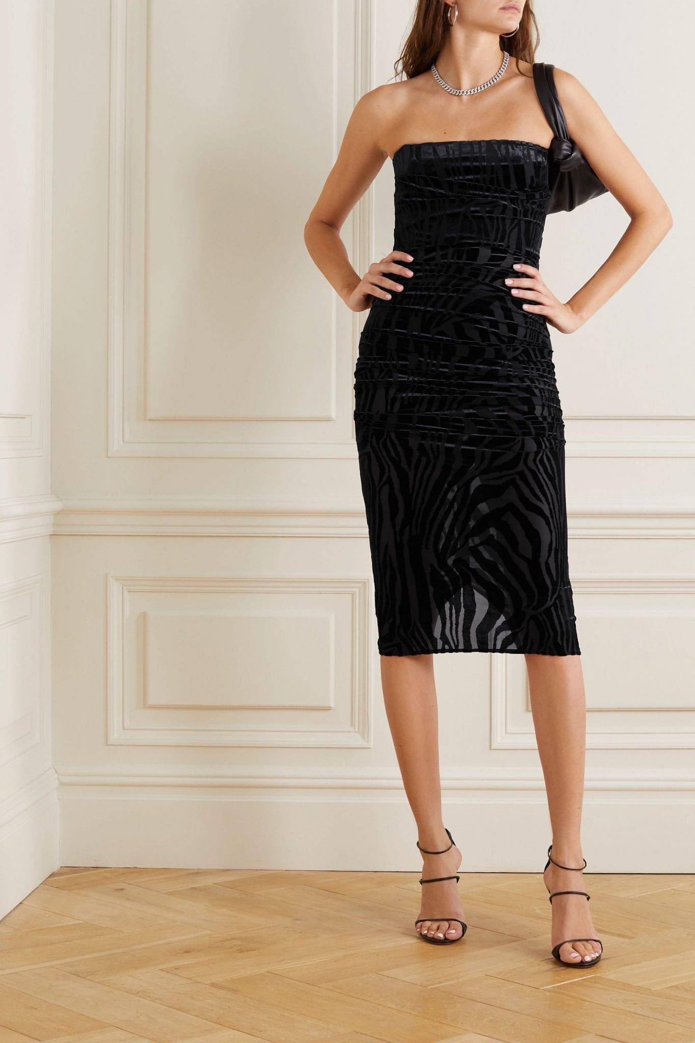 ALEX PERRY Codie Ruched Devoré-velvet Mini Dress