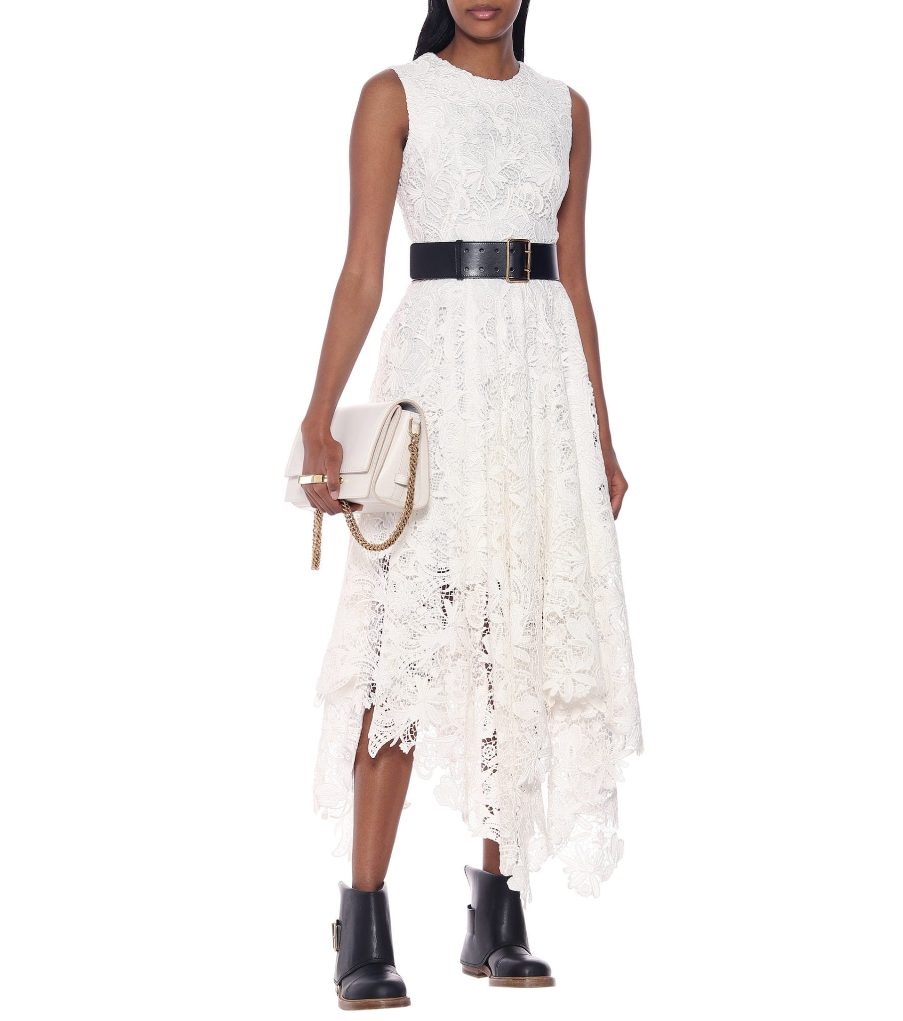 ALEXANDER MCQUEEN Asymmetric Guipure Lace Midi Dress