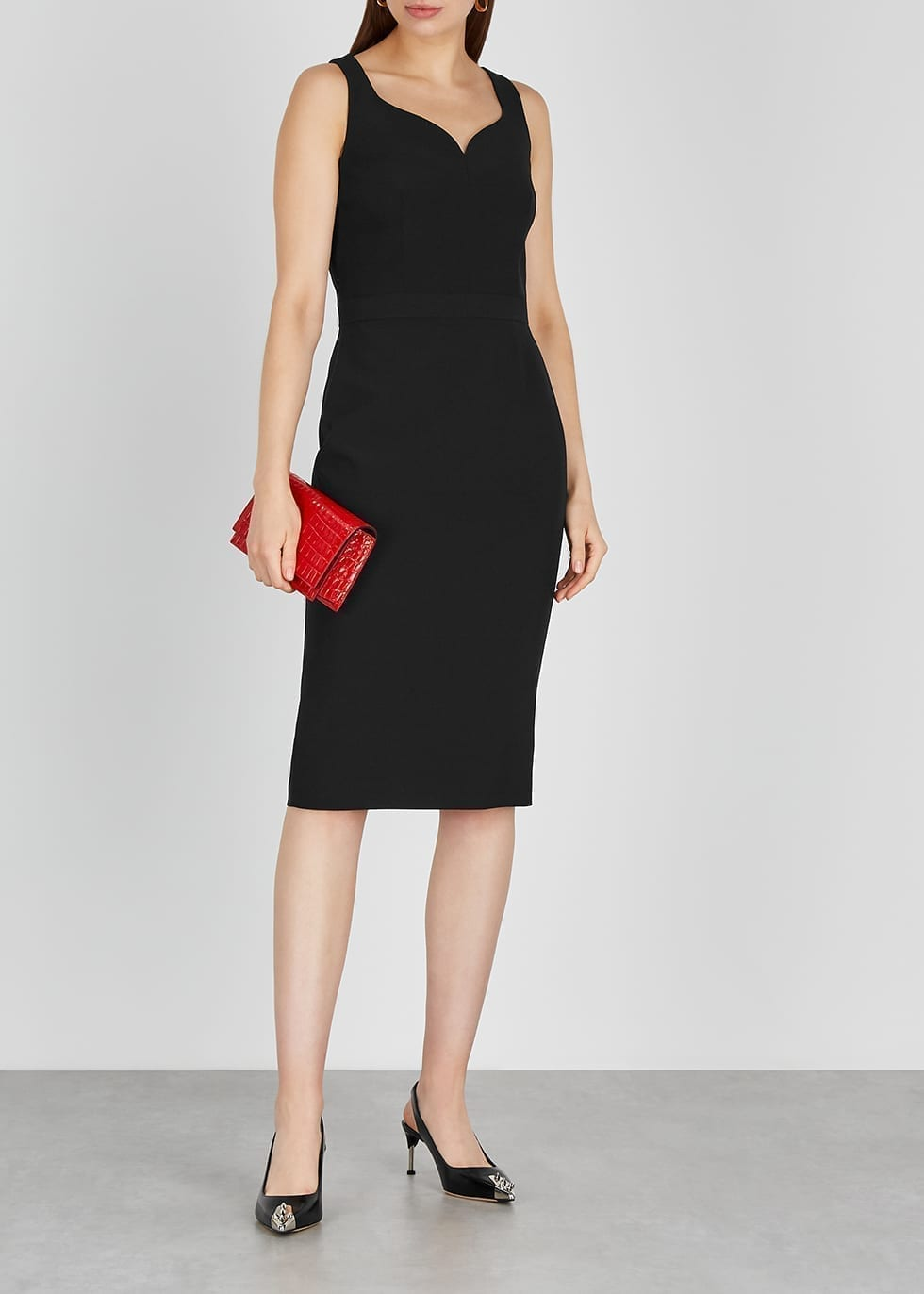ALEXANDER MCQUEEN Black Midi Dress