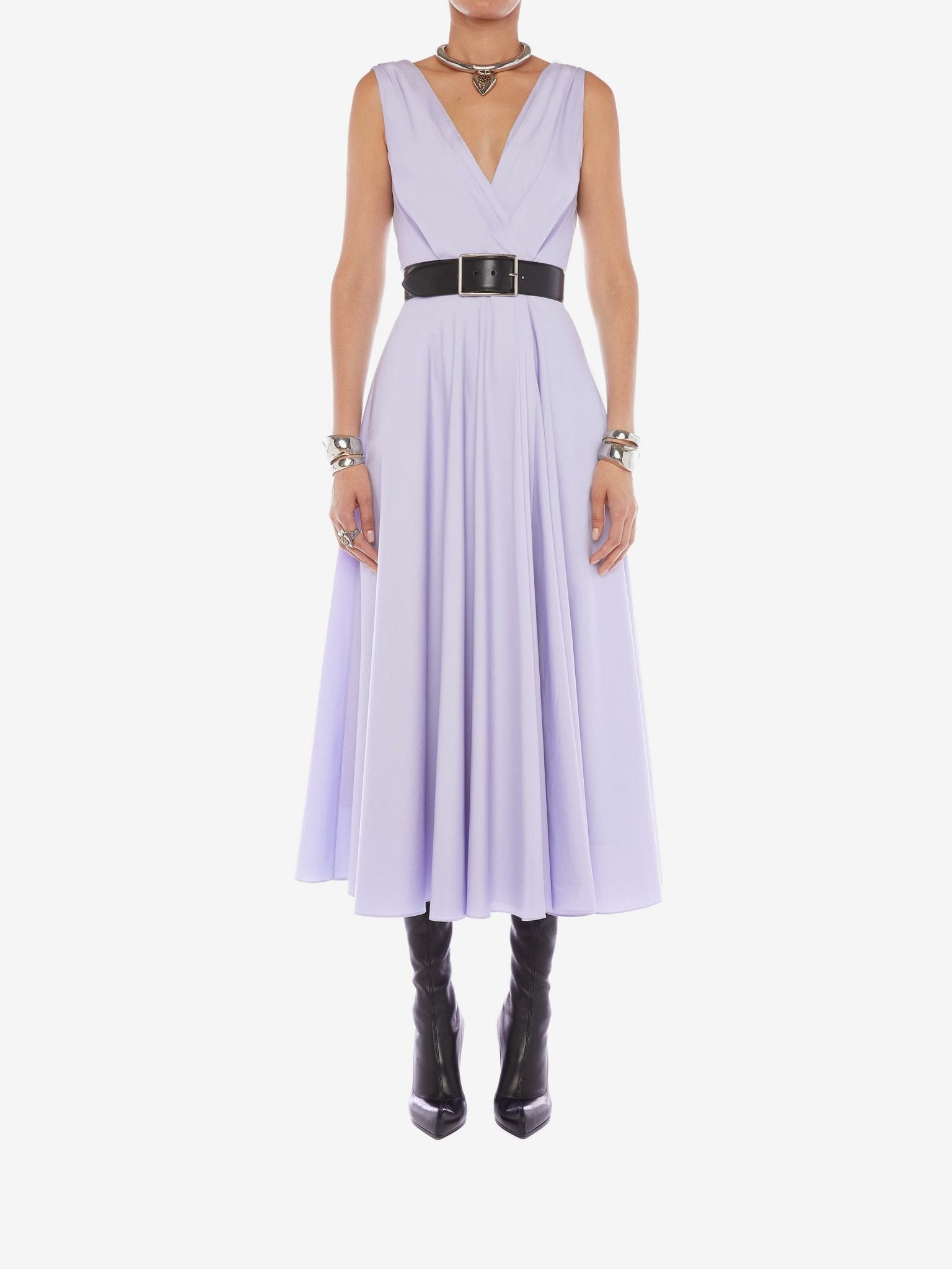 ALEXANDER MCQUEEN Cotton Poplin Drape Midi Dress