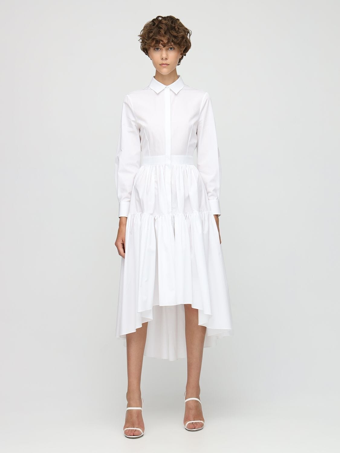 ALEXANDER MCQUEEN Cotton Poplin Shirt Midi Dress