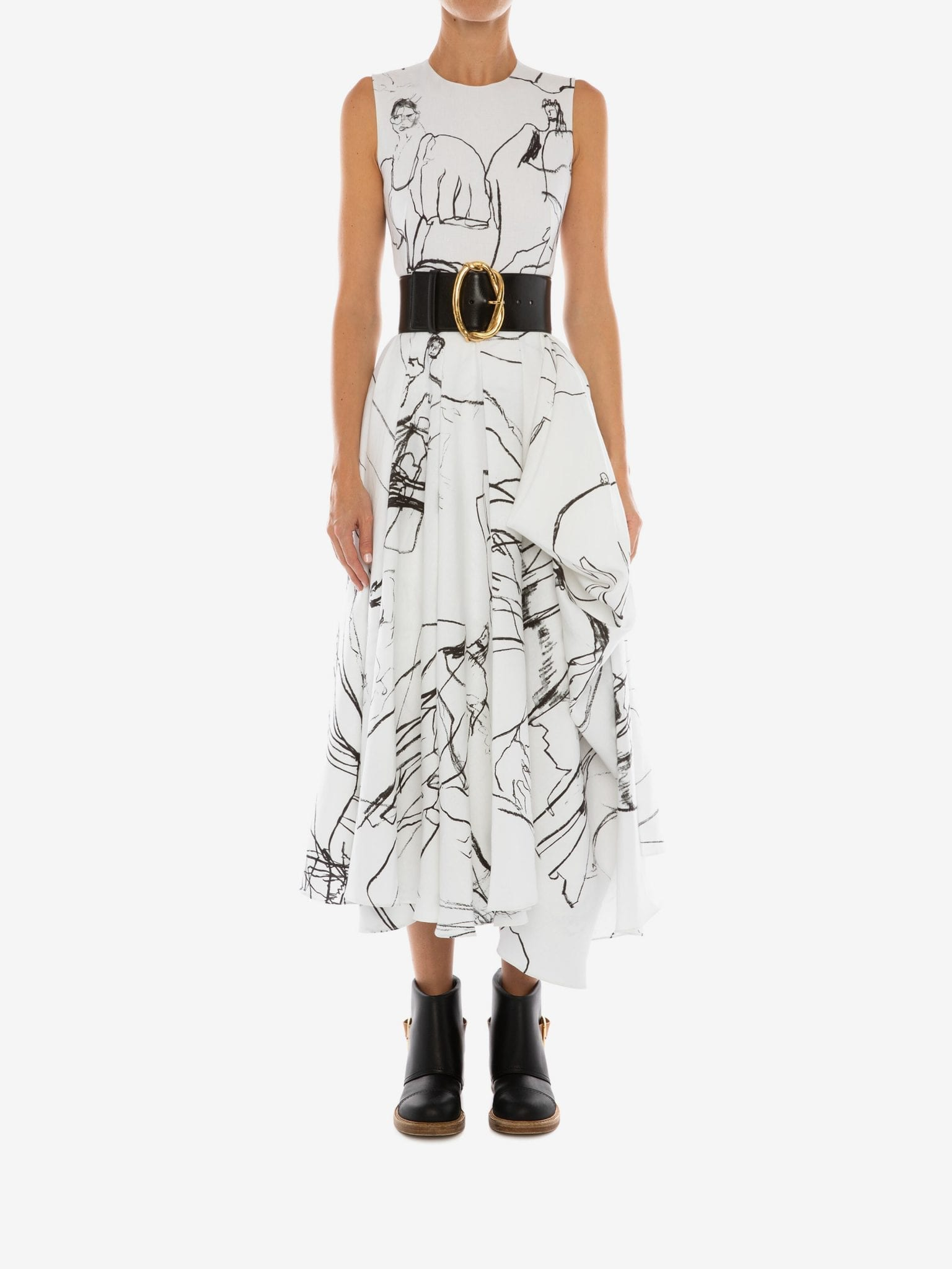 ALEXANDER MCQUEEN Dancing Girls Asymmetric Midi Dress