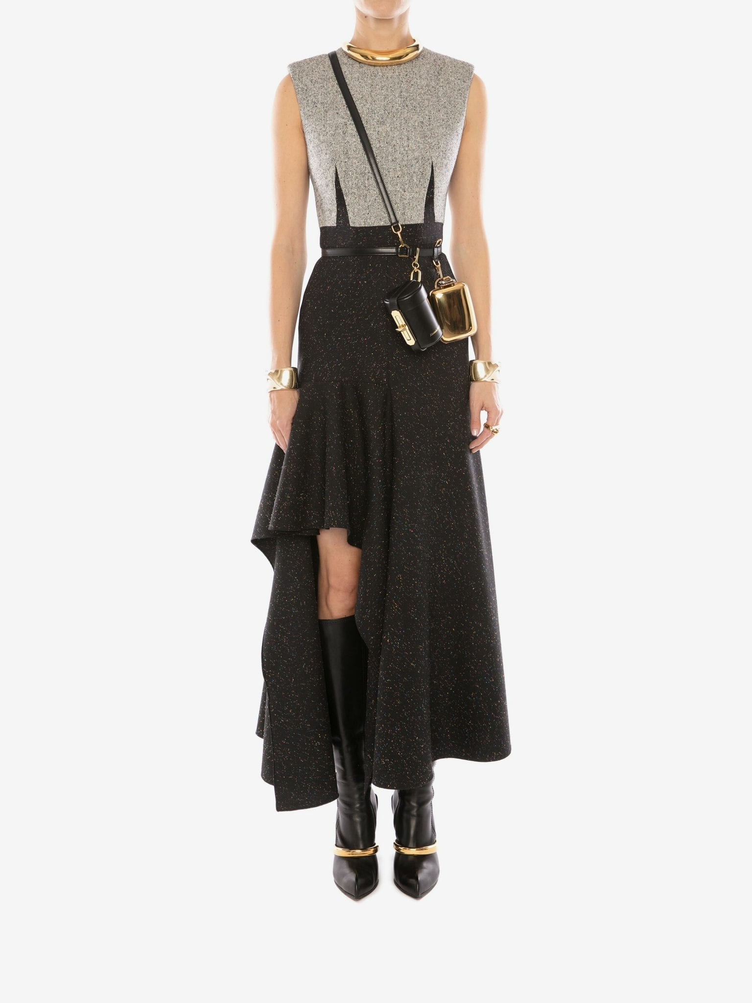 ALEXANDER MCQUEEN Donegal Drape Midi Dress