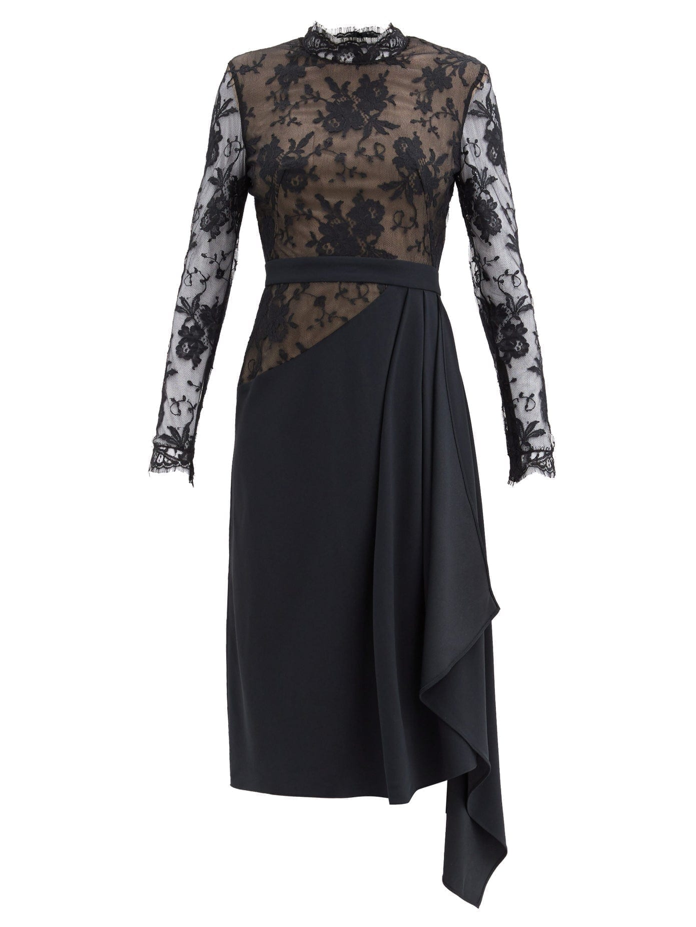 ALEXANDER MCQUEEN Draped Crepe And Lace Dress