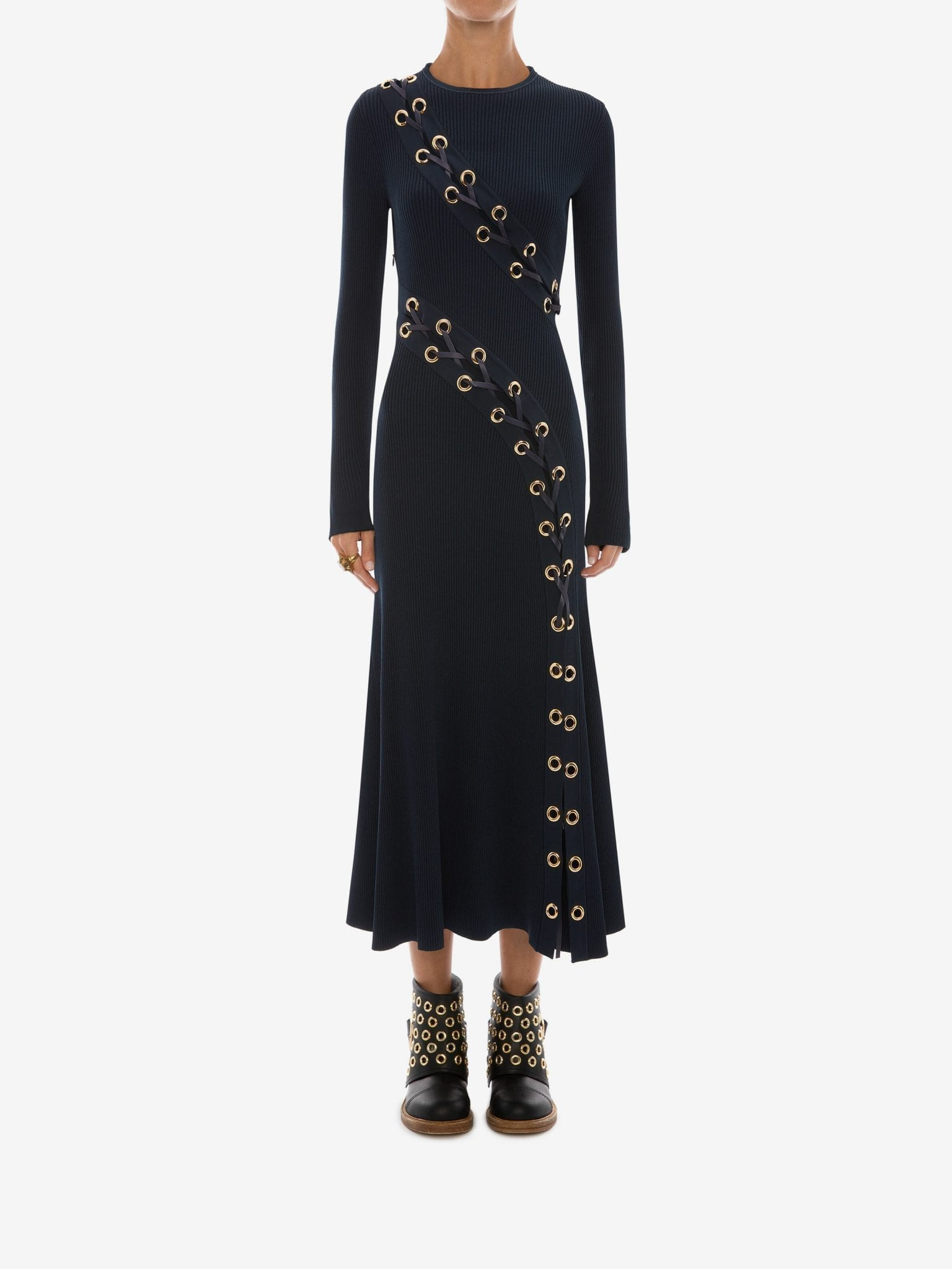 ALEXANDER MCQUEEN Eyelet Knitted Midi Dress