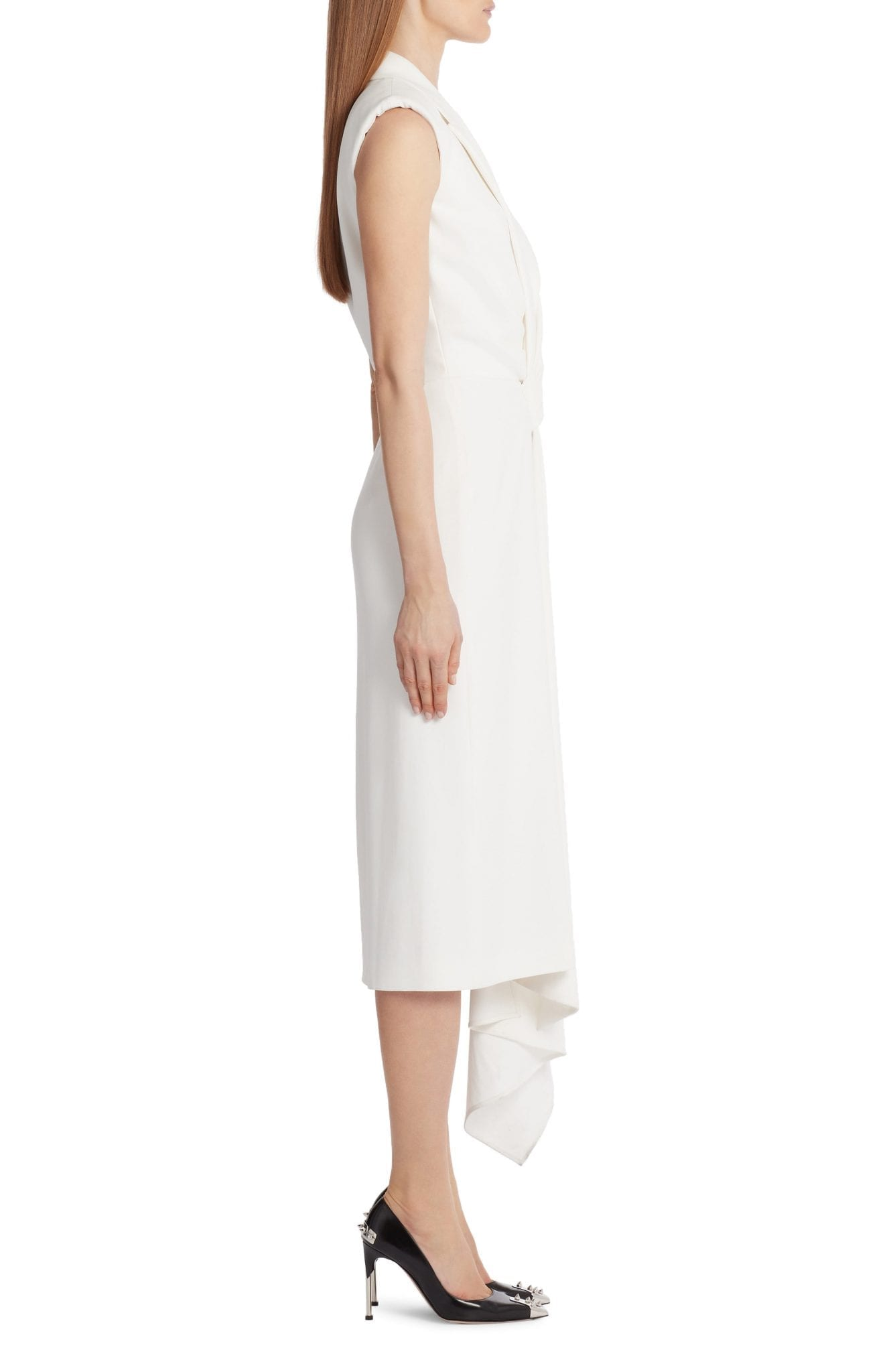 ALEXANDER MCQUEEN Gathered Asymmetrical Midi Sheath Dress