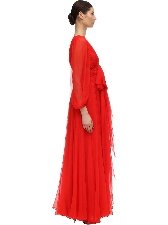 ALEXANDER MCQUEEN Maxi Round Silk Crepe Dress