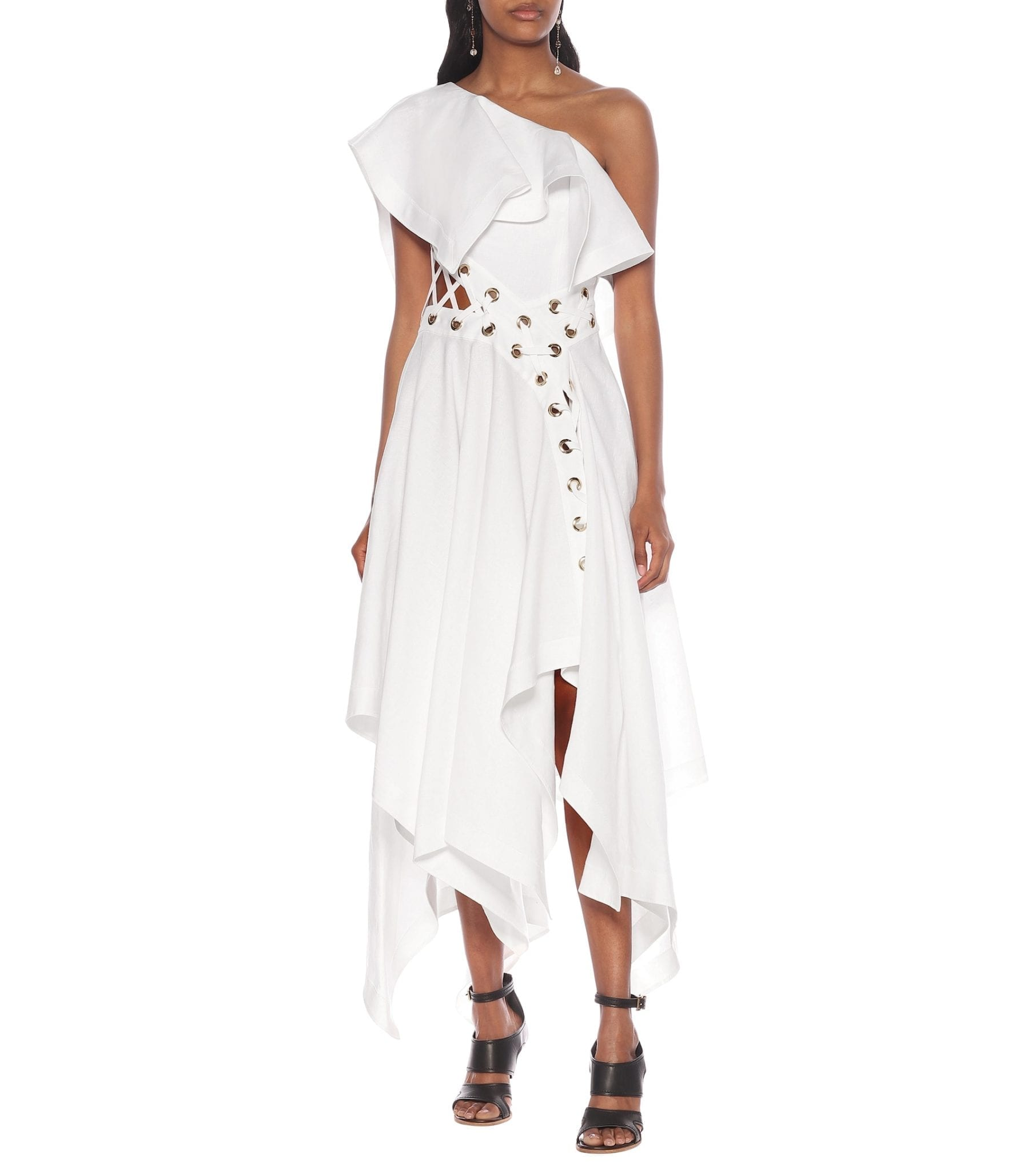 ALEXANDER MCQUEEN One-shoulder Linen Dress