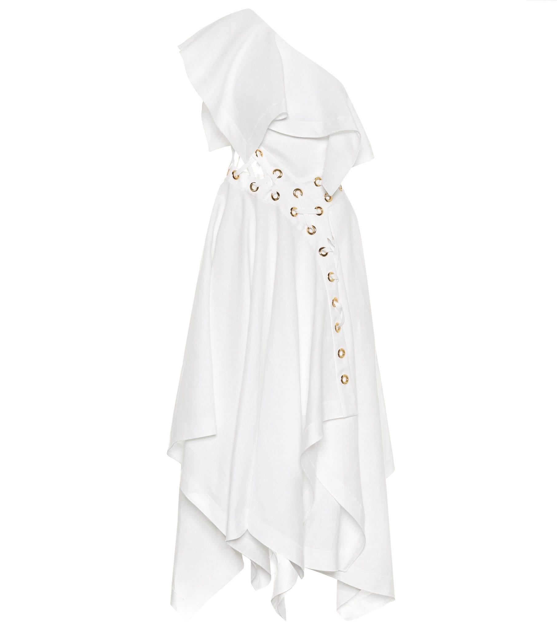 ALEXANDER MCQUEEN One-shoulder Linen Dress