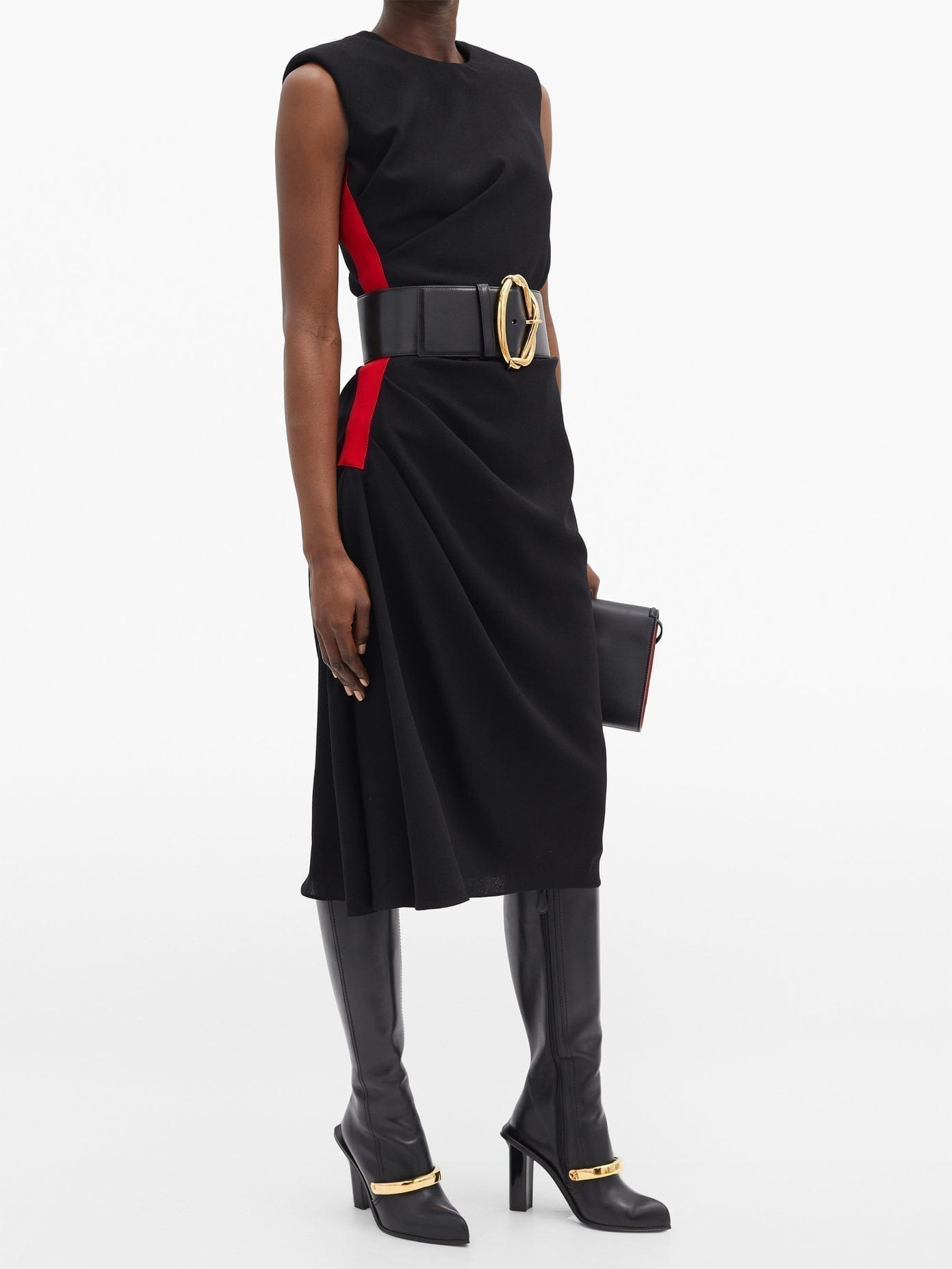 ALEXANDER MCQUEEN Side-stripe Wool-crepe Dress