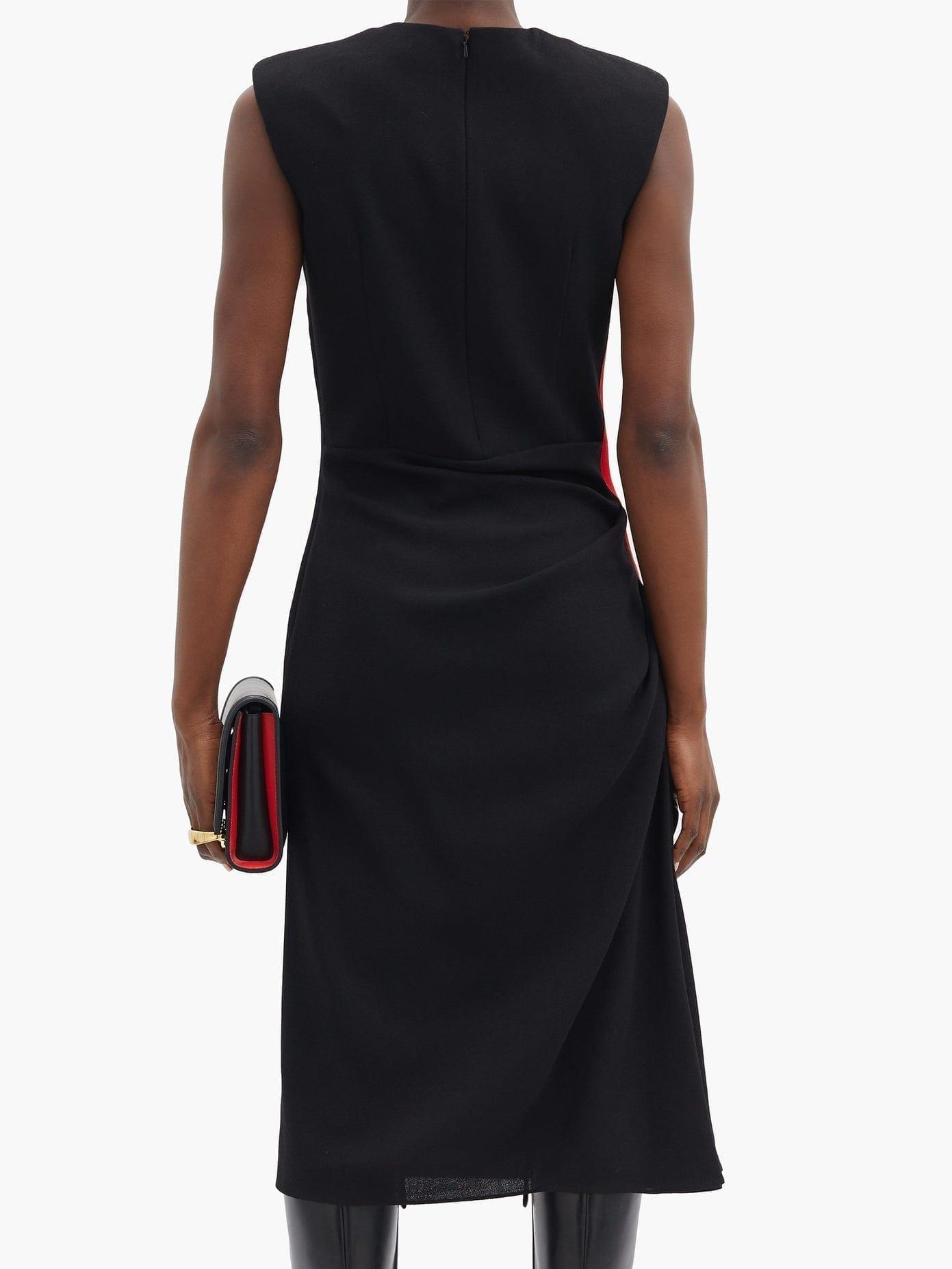 ALEXANDER MCQUEEN Side-stripe Wool-crepe Dress