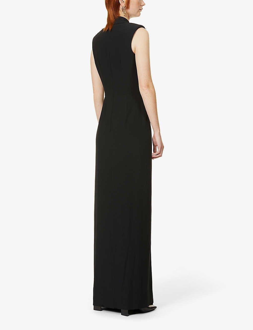 ALEXANDER MCQUEEN Sleeveless Wrap-Over Satin Gown