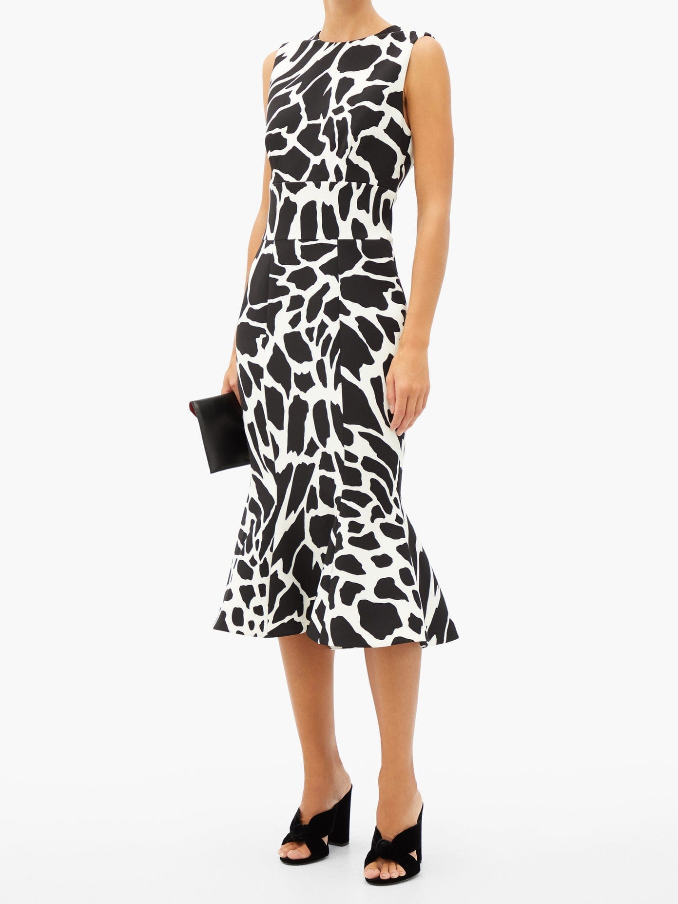 ALEXANDRE VAUTHIER Flared Giraffe-print Crepe Dress