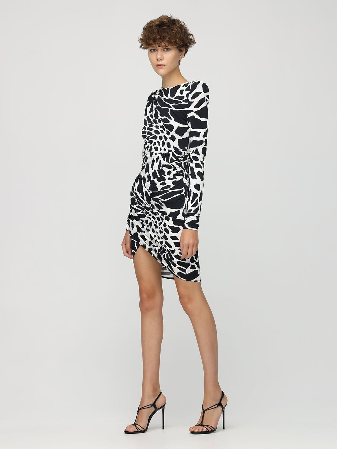 ALEXANDRE VAUTHIER Giraffe Print Stretch Jersey Mini Dress