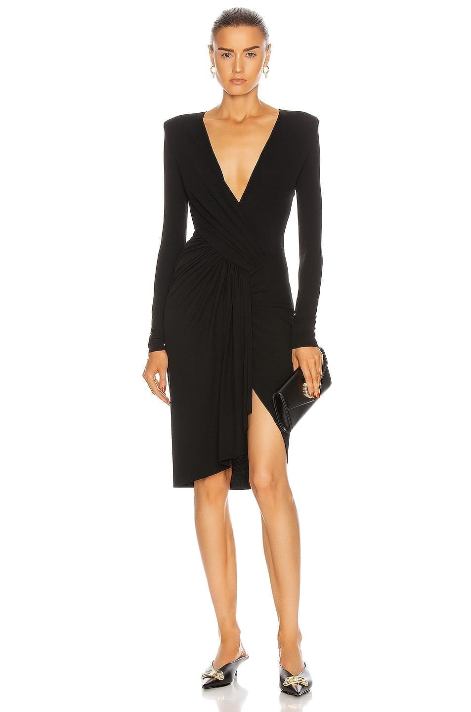 ALEXANDRE VAUTHIER Ruched Wrap Midi Dress