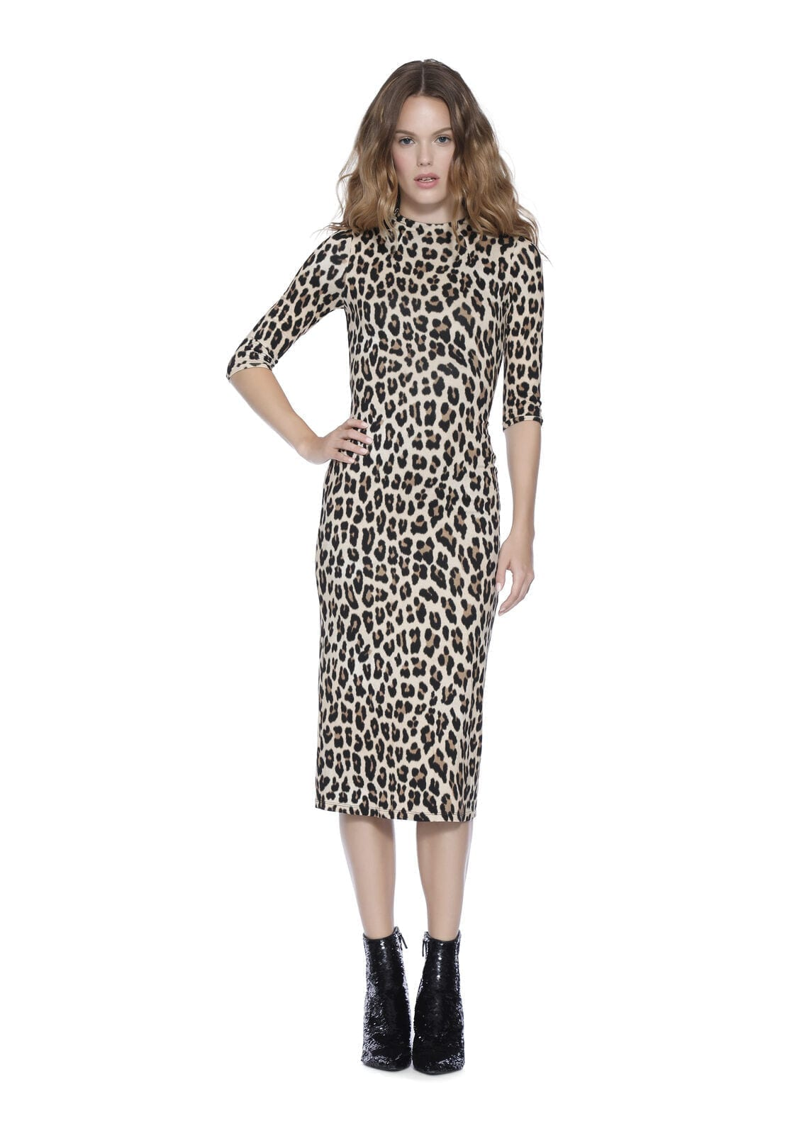 ALICE + OLIVIA Delora Fitted Mock Neck Midi Dress