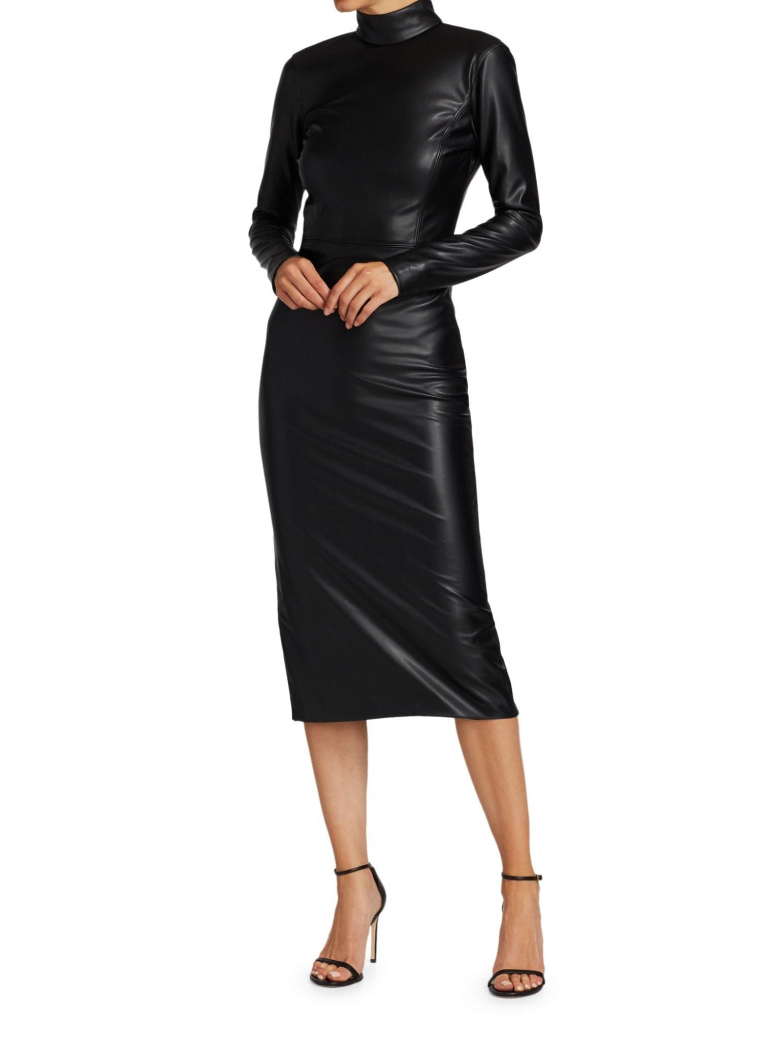 ALICE + OLIVIA Delora Vegan Leather Bodycon Midi Dress