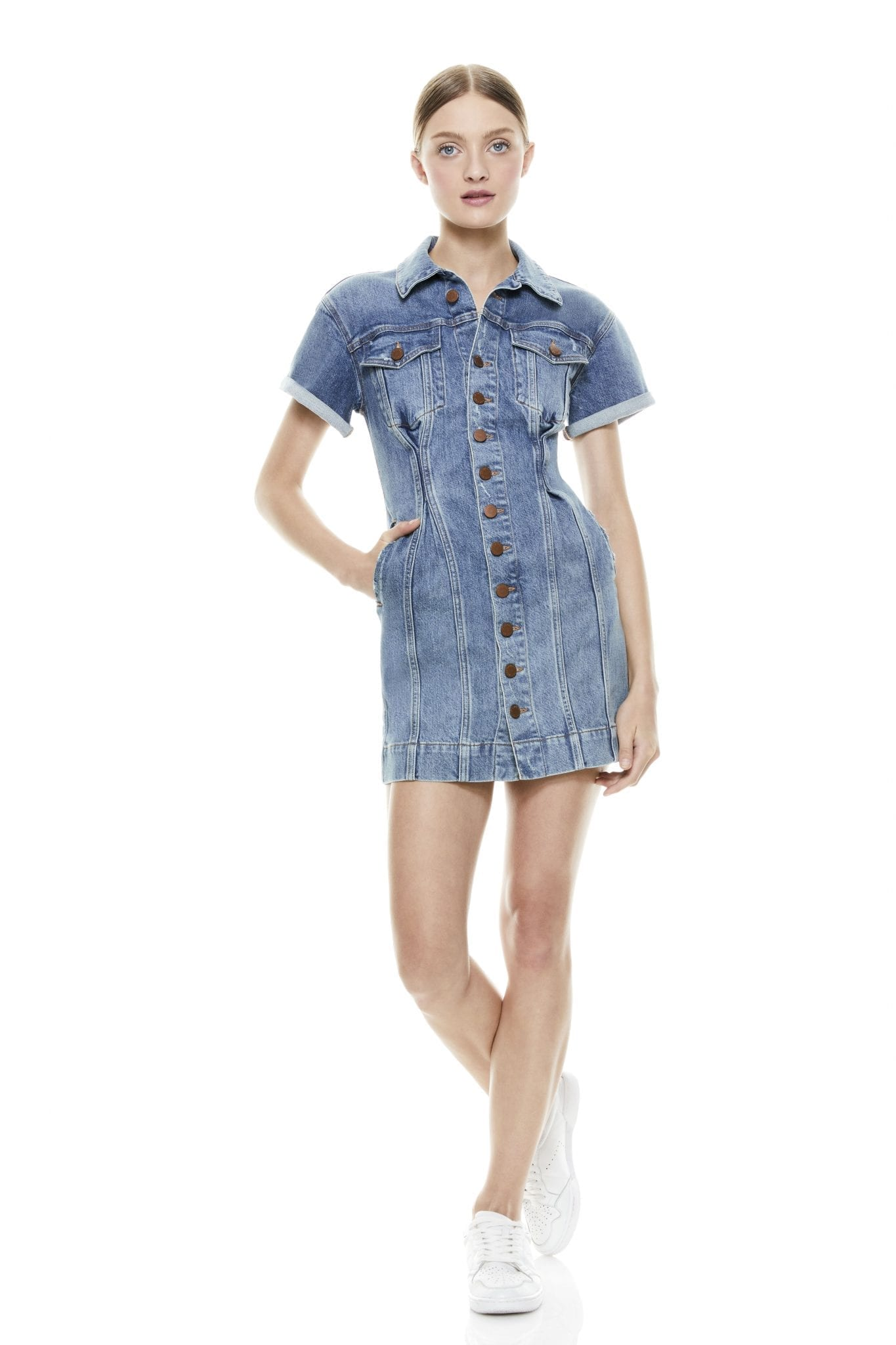 ALICE + OLIVIA Denim Corset Dress