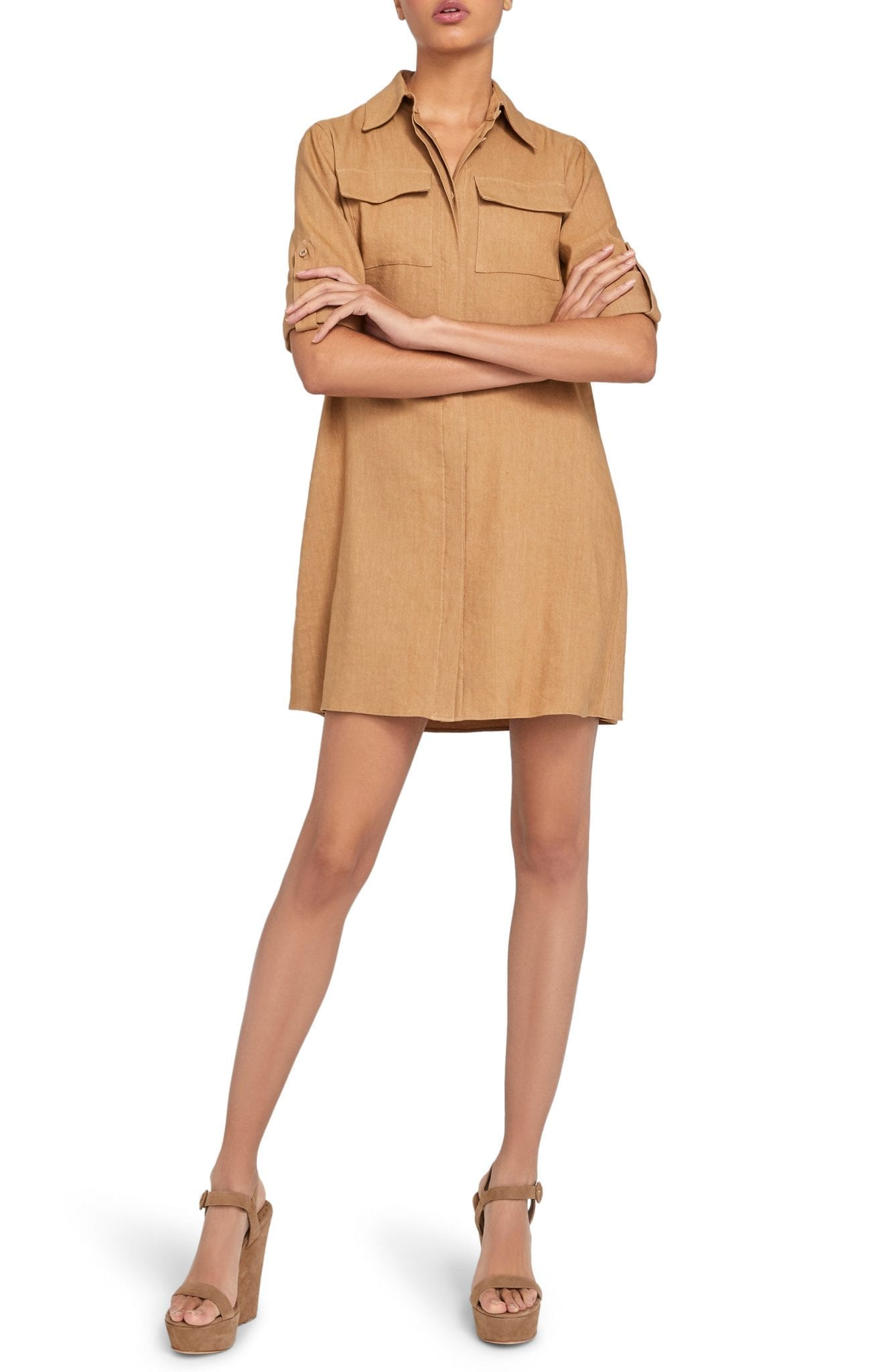 ALICE + OLIVIA Kiera Silk Mini Shirt Dress