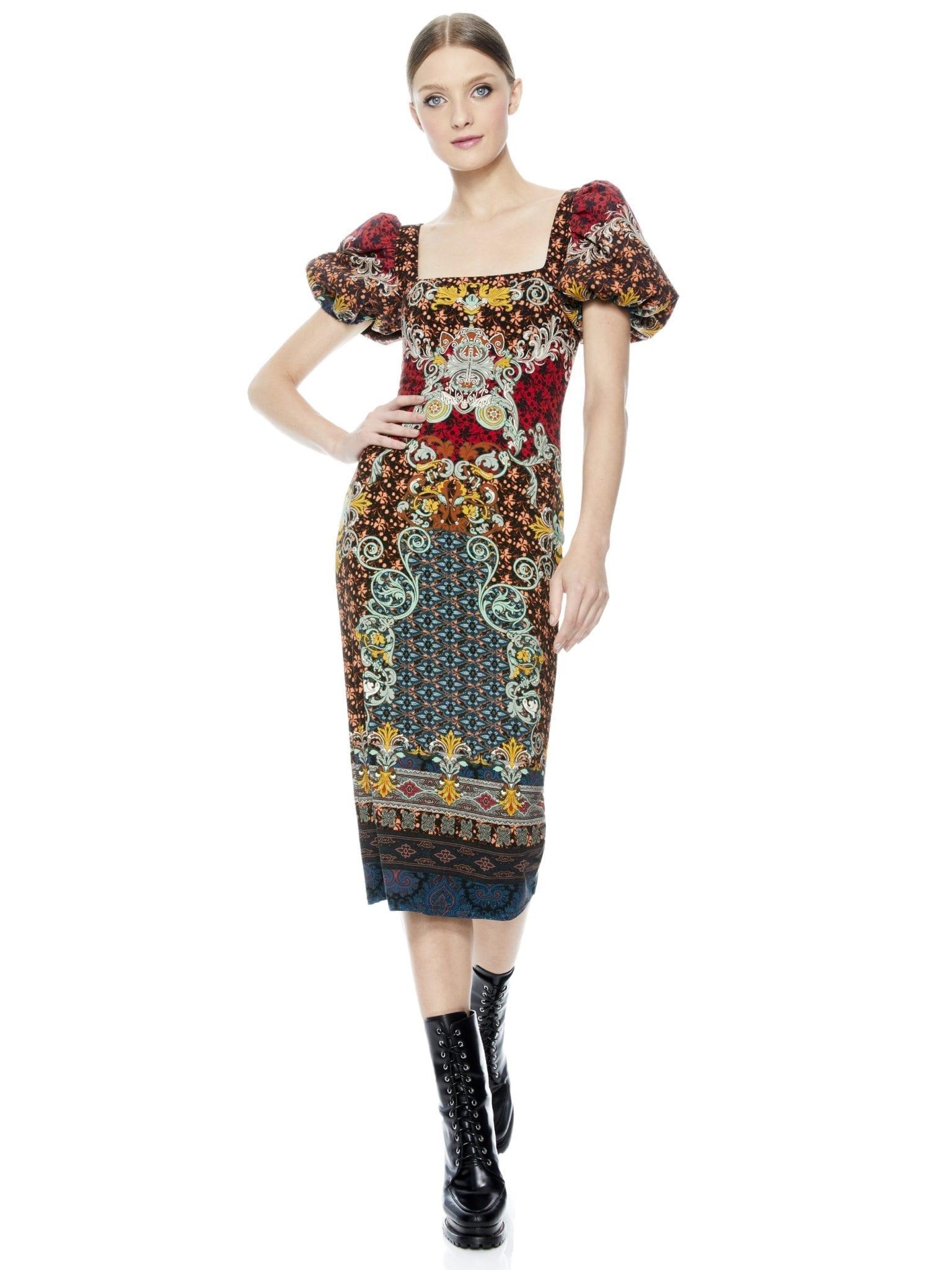 ALICE + OLIVIA Lexia Puff Sleeve Midi Dress