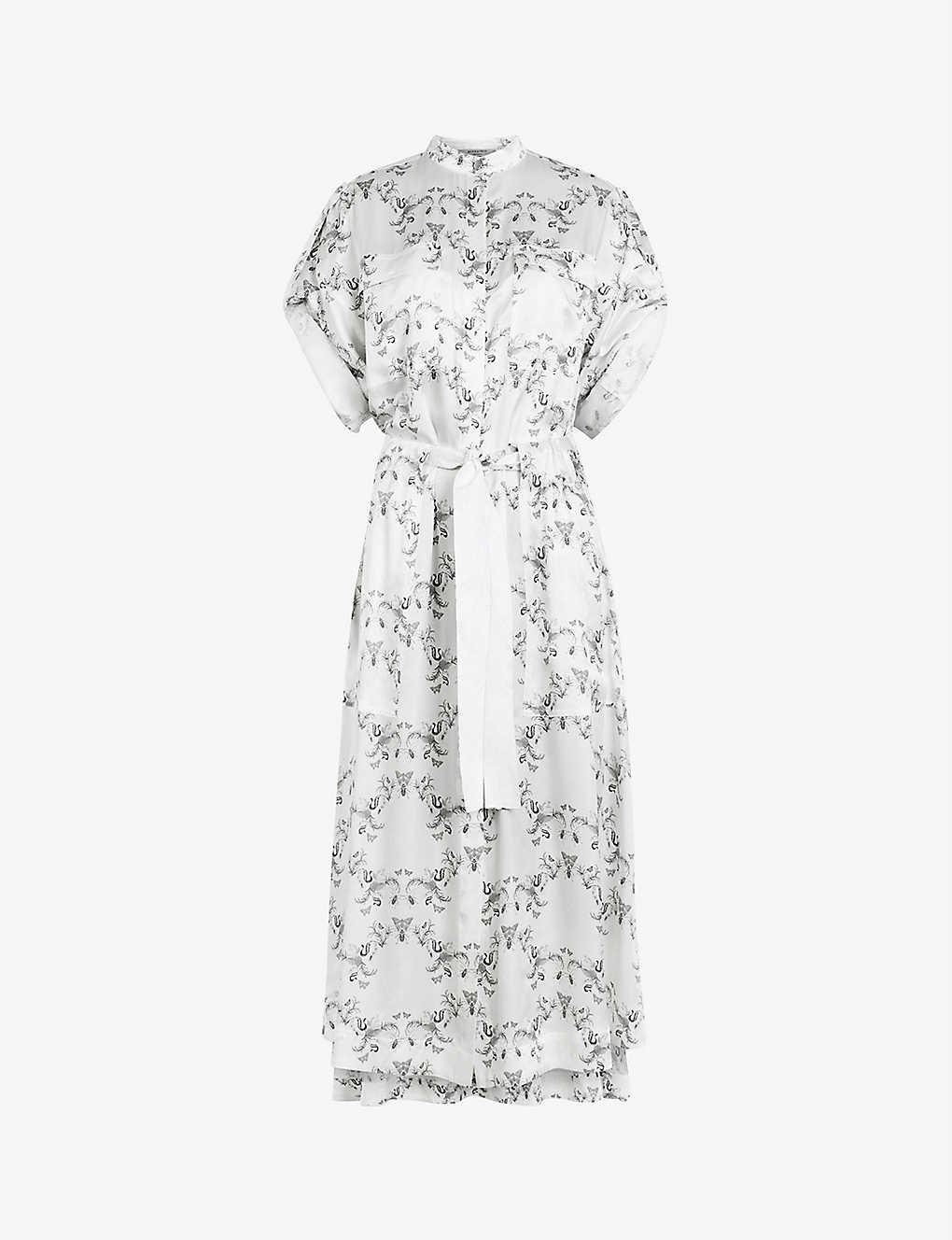 ALLSAINTS Luciana Assam Crepe Midi Dress