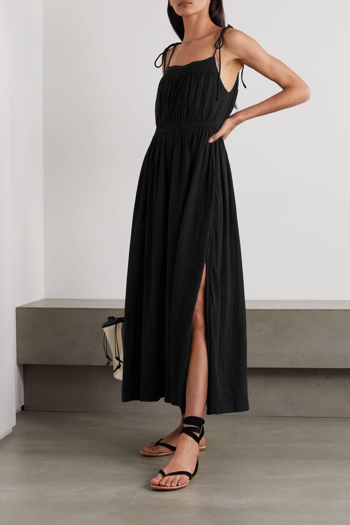 APIECE APART Cecile Tie-detailed Gathered Organic Cotton Midi Dress