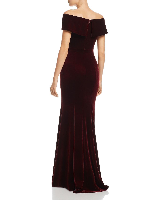 AQUA Off-the-Shoulder Fluted Velvet Gown