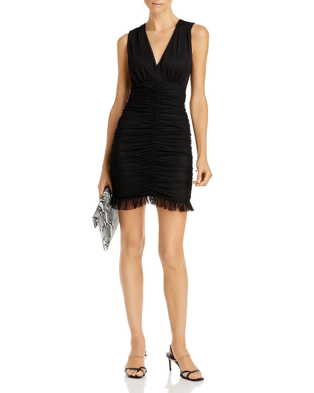 AQUA Sleeveless Ruched Mesh Dress