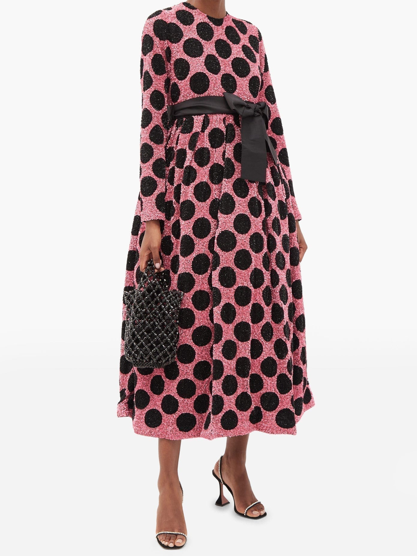 ASHISH Polka-dot Waist-sash Sequined Midi Dress
