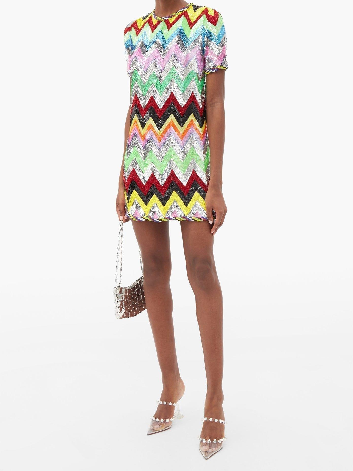 ASHISH Sequined Chevron-stripe Mini Dress