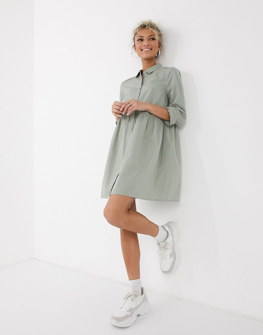ASOS DESIGN Cotton Mini Smock Shirt Dress