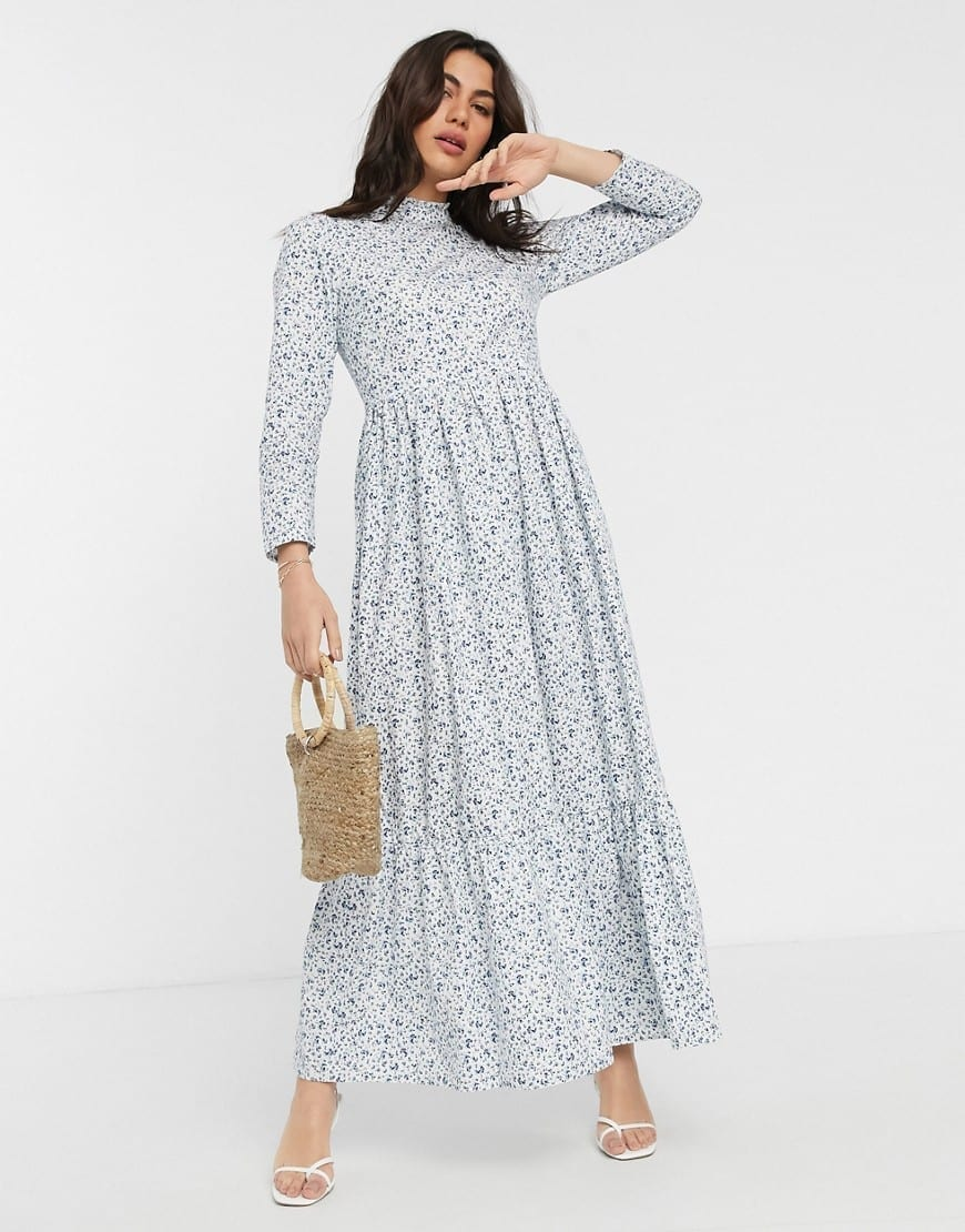 ASOS DESIGN Cotton Poplin Tiered Maxi Dress