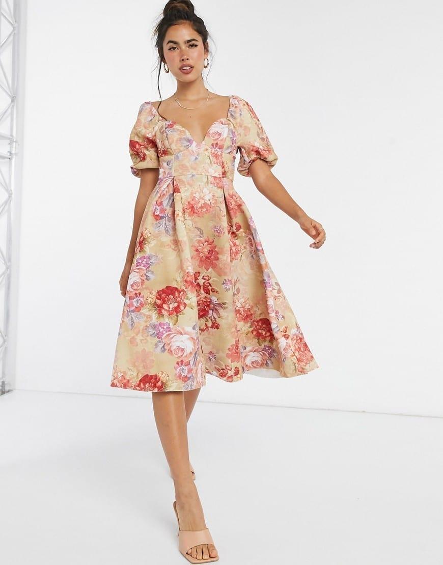 ASOS DESIGN Garden Party Vintage Cup Detail Prom Midi Dress