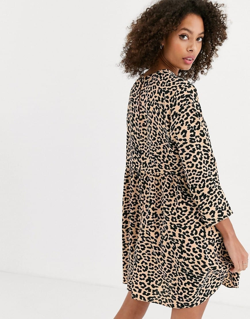ASOS DESIGN Long Sleeve Smock Mini Dress