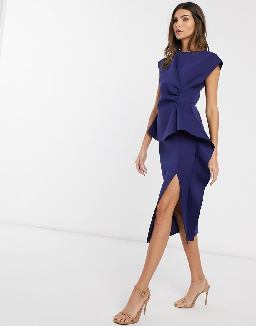 ASOS DESIGN Peplum Pencil Midi Dress