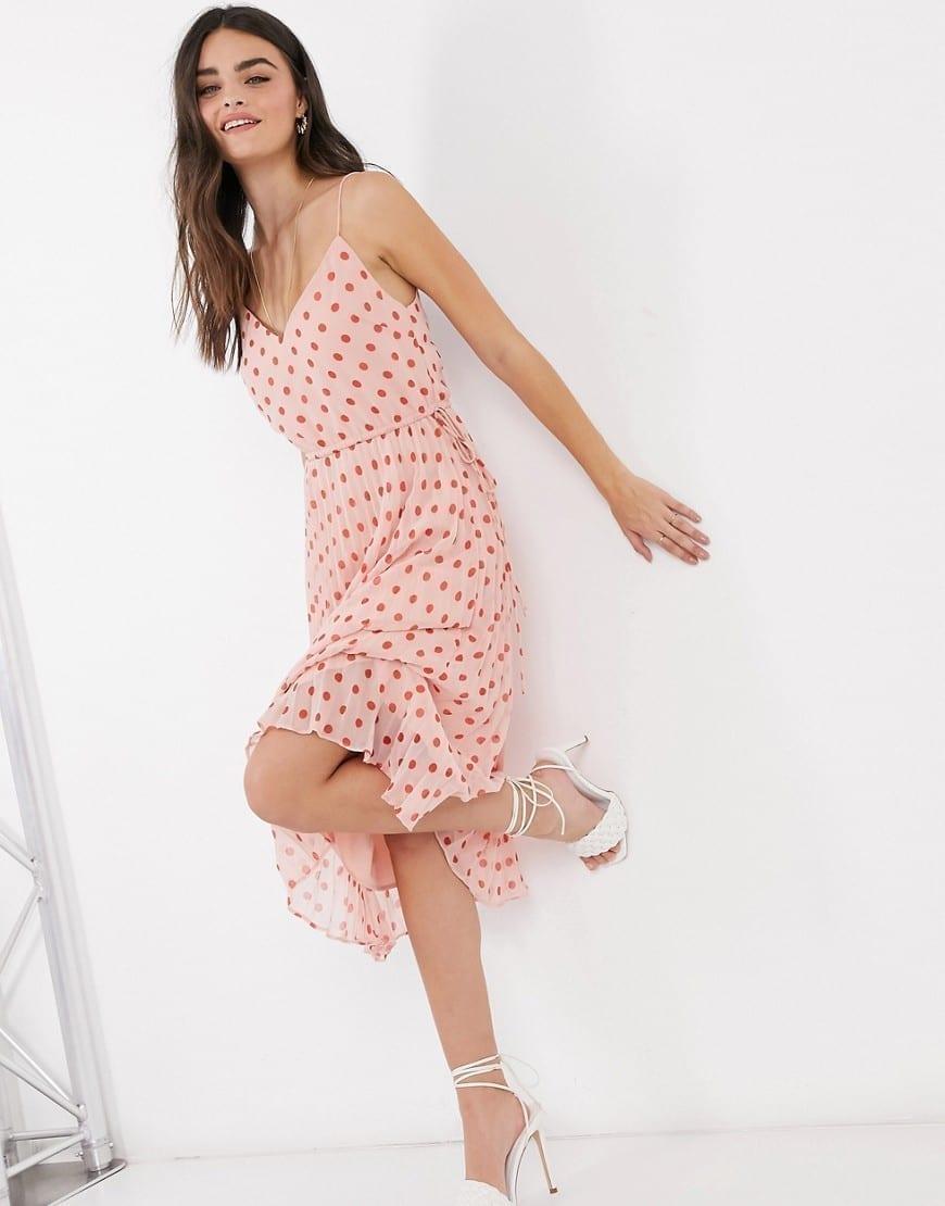 ASOS DESIGN Pleated V Neck Midi Dress