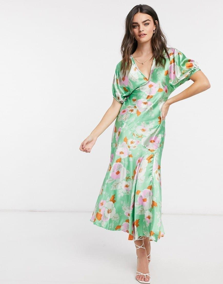 ASOS DESIGN Puff Sleeve Satin Maxi Tea Dress