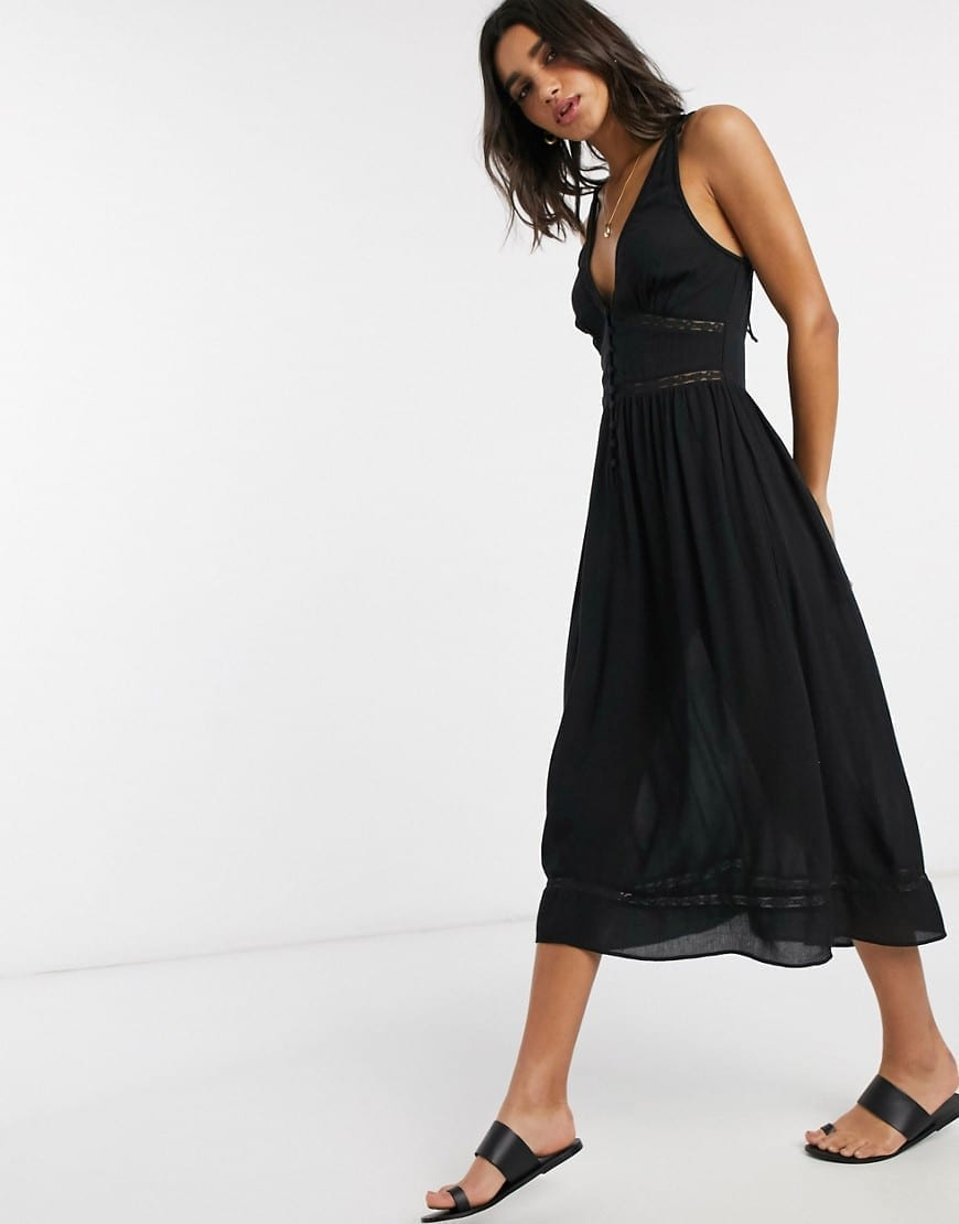 ASOS DESIGN Tiered Midi Sun Dress