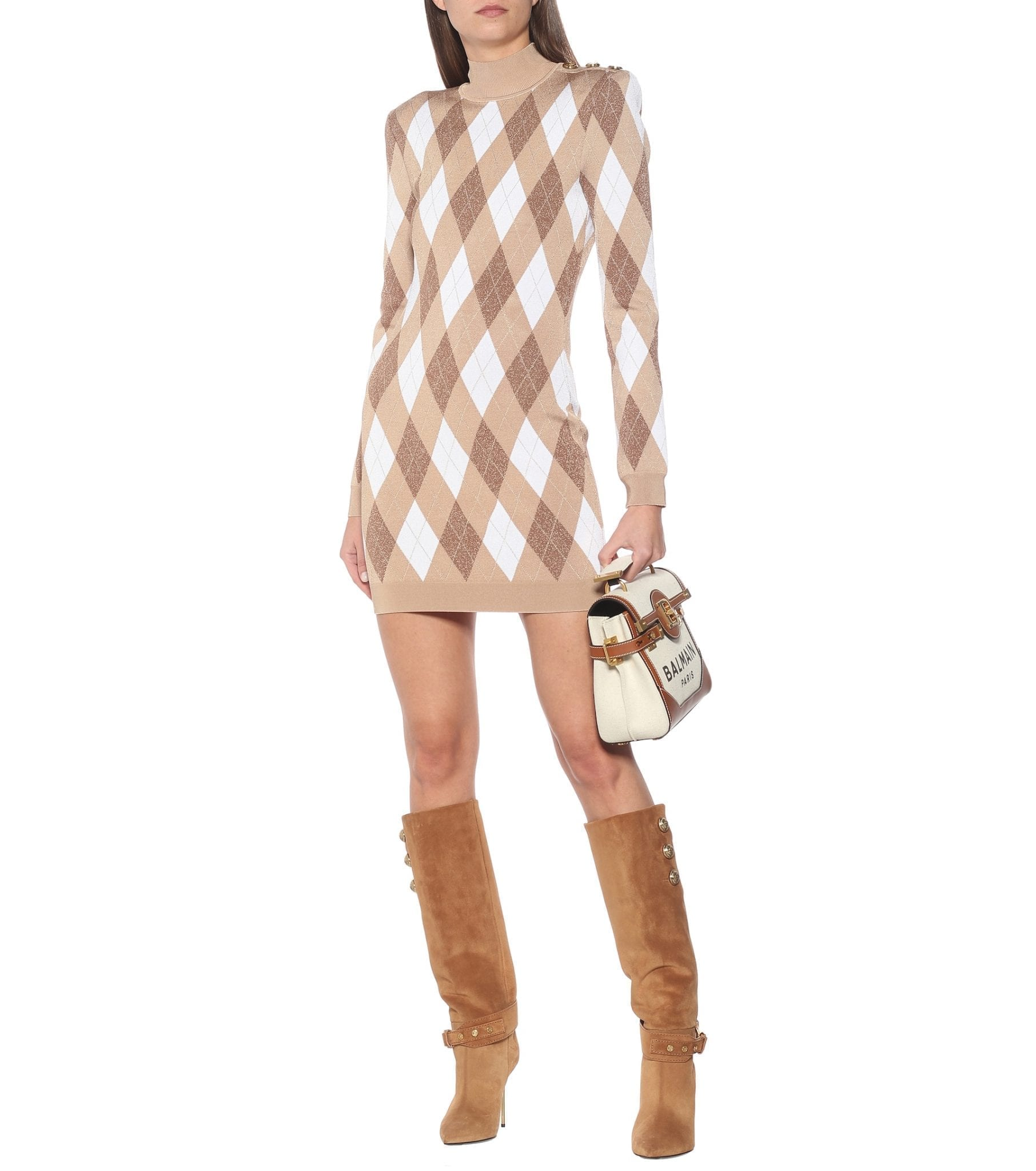 BALMAIN Argyle Knit Mini Dress